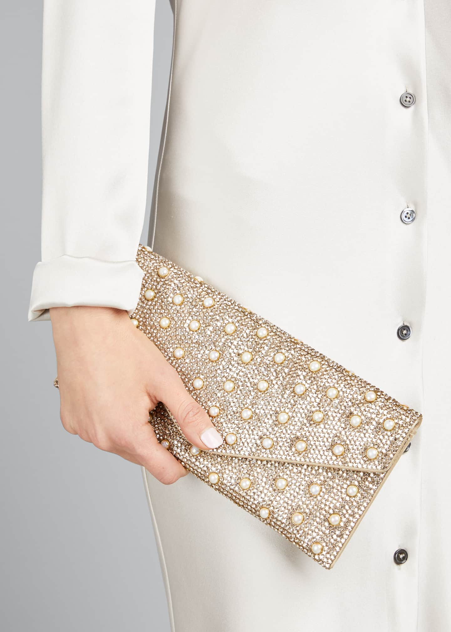 Image 2 of 5: Envelope Pearly Beaded Clutch Bag