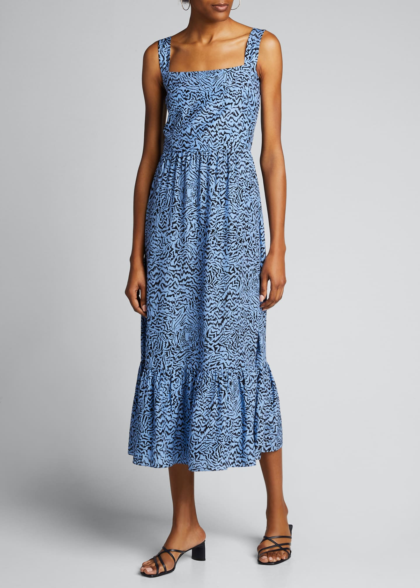 Image 3 of 5: Olympia Printed Sleeveless Gown with Ruffle Hem