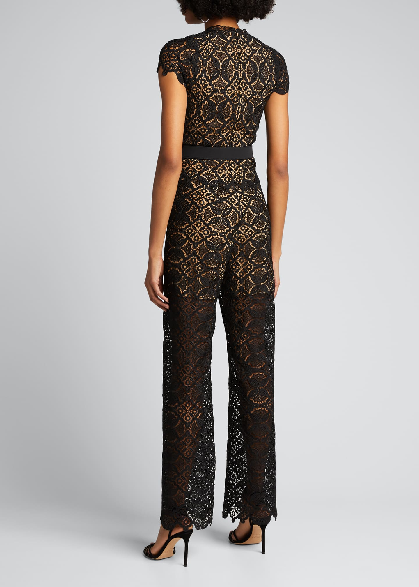 Image 2 of 5: Emma Guipure Lace Belted Jumpsuit