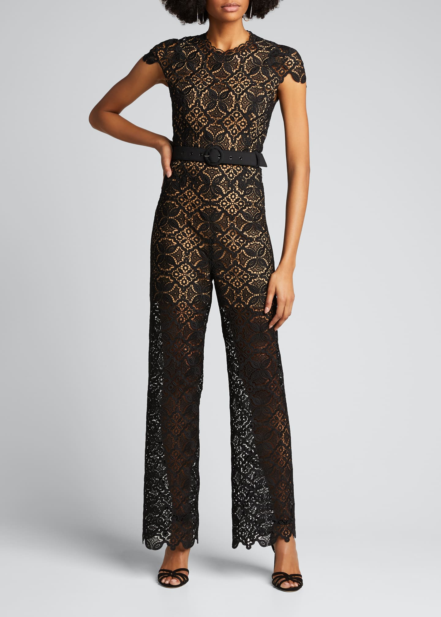 Image 3 of 5: Emma Guipure Lace Belted Jumpsuit