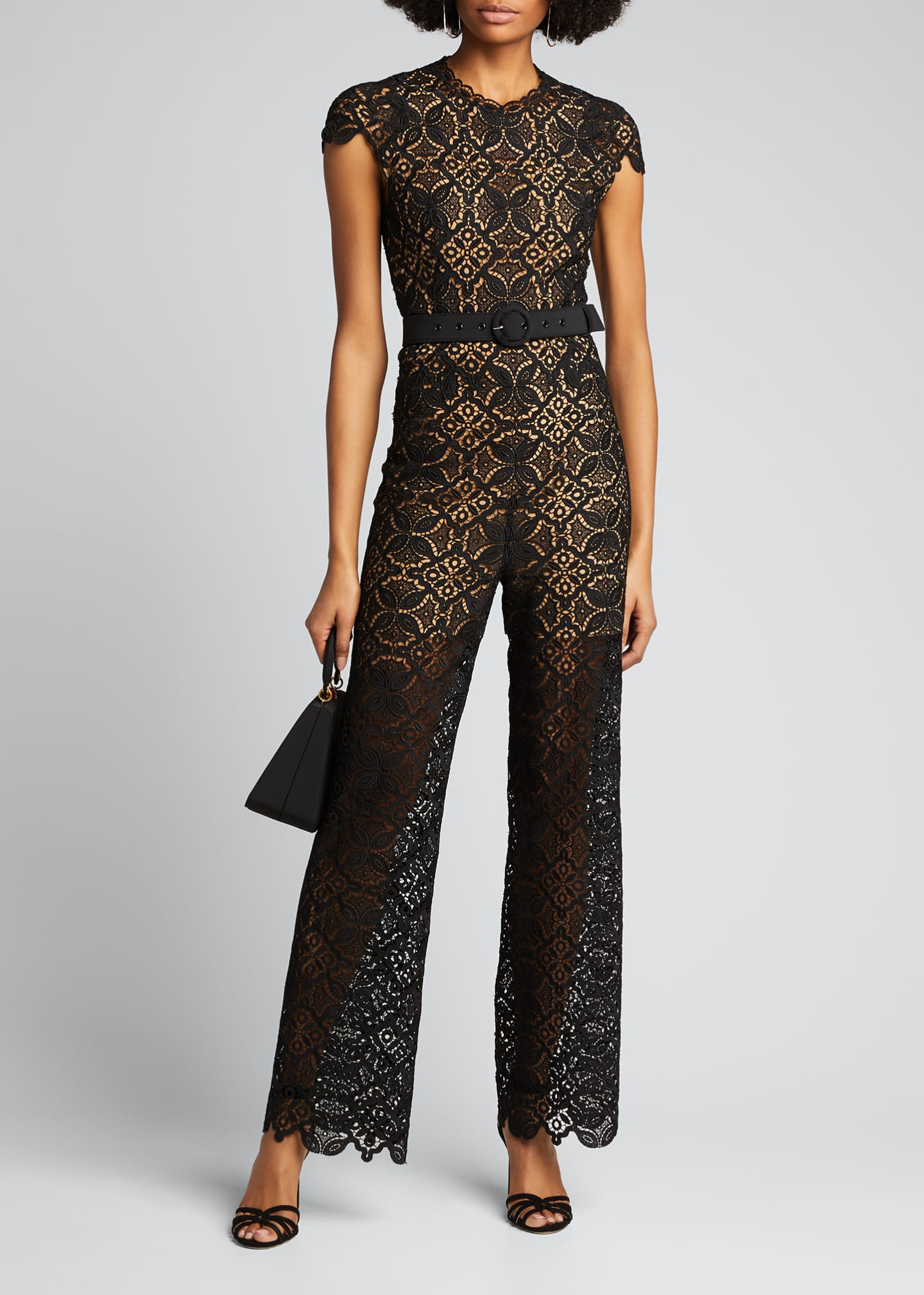 Image 1 of 5: Emma Guipure Lace Belted Jumpsuit
