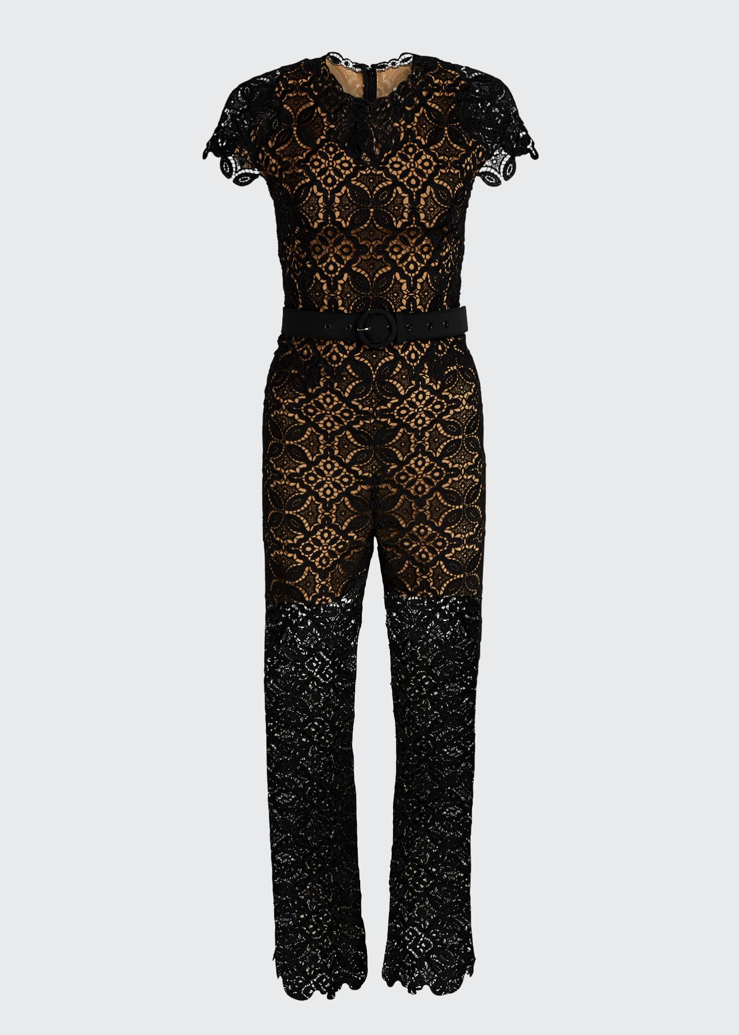 Image 5 of 5: Emma Guipure Lace Belted Jumpsuit