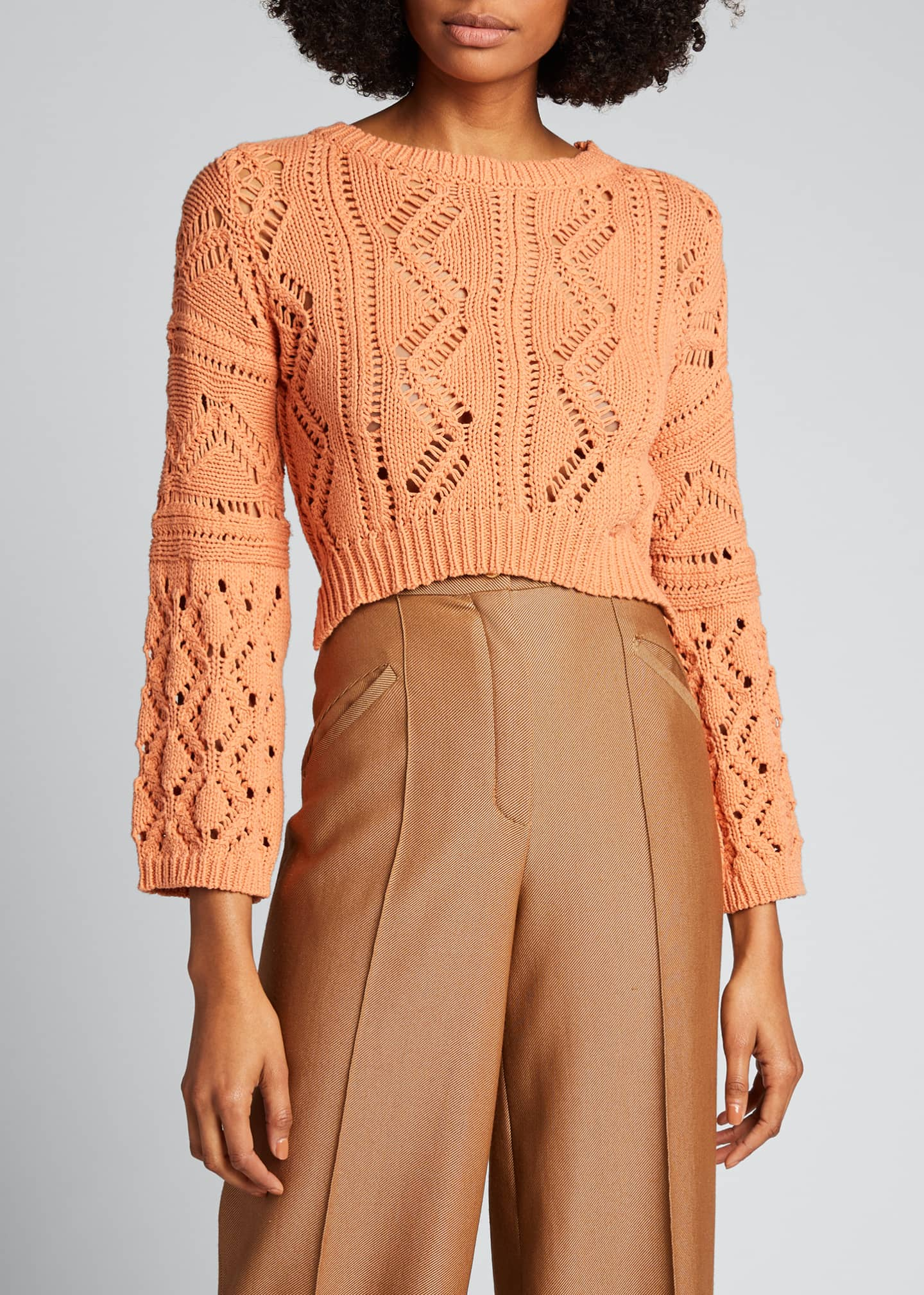 Image 3 of 5: Madelyn Directional Rib Cropped Sweater