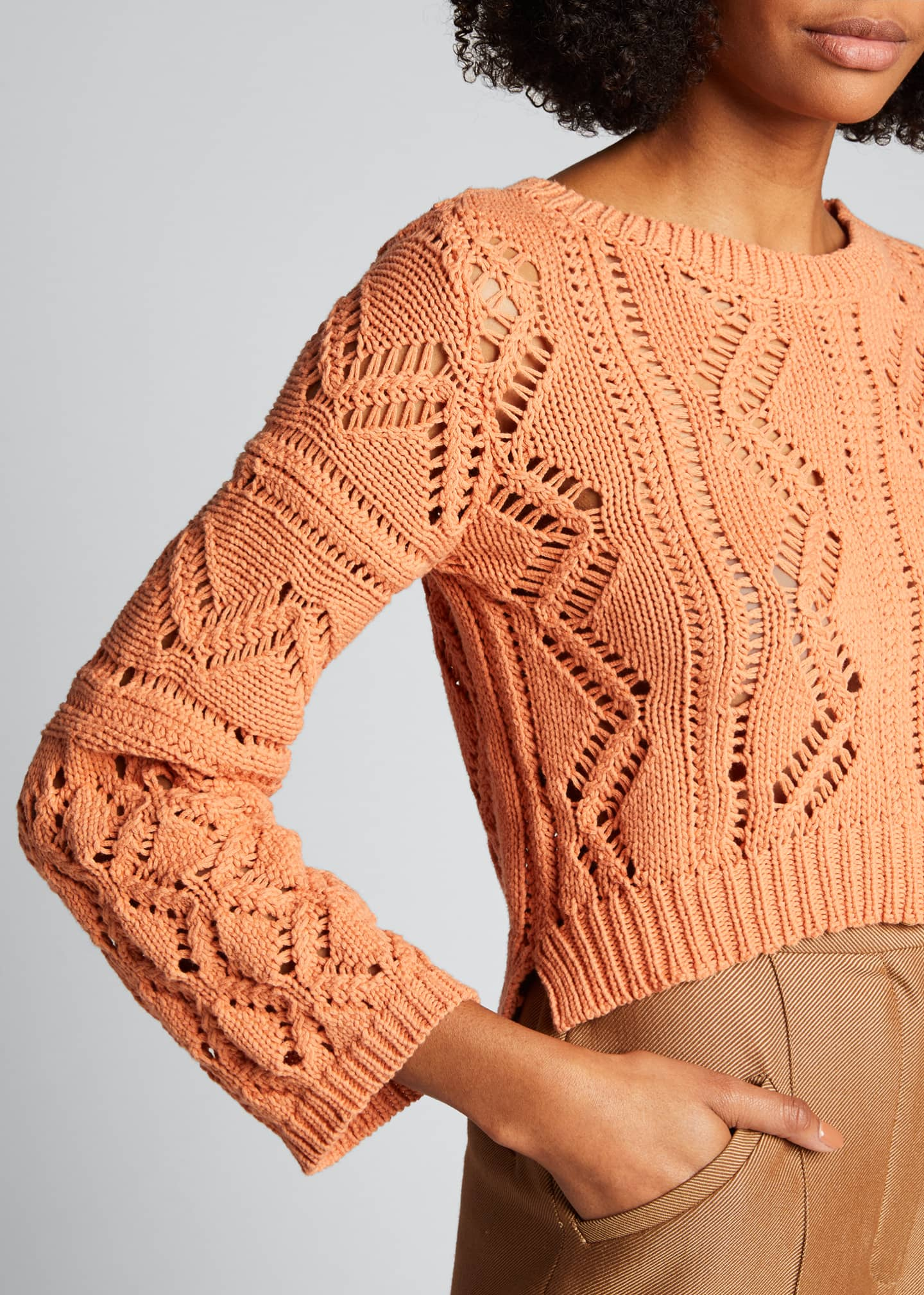 Image 4 of 5: Madelyn Directional Rib Cropped Sweater