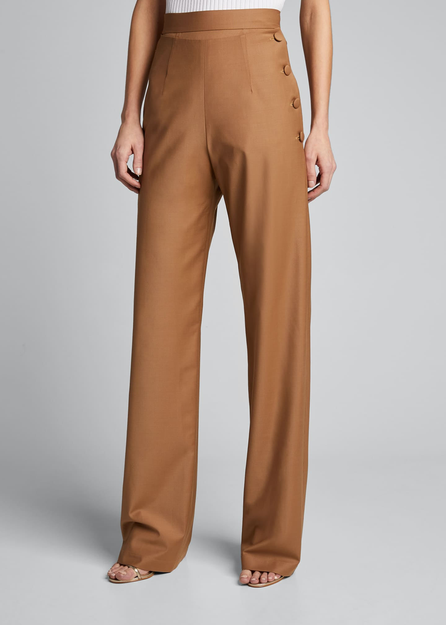 Image 3 of 5: Side-Button Pants