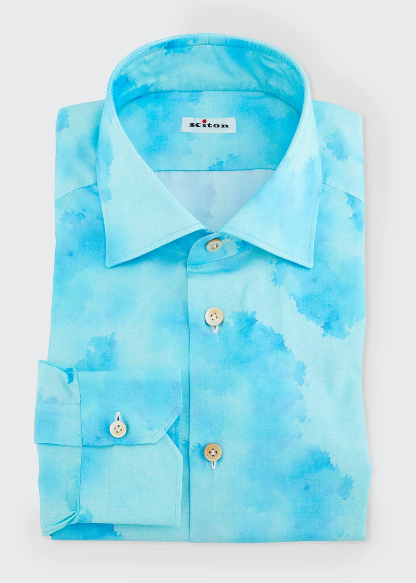 Image 1 of 1: Men's Linen Blotch-Print Dress Shirt