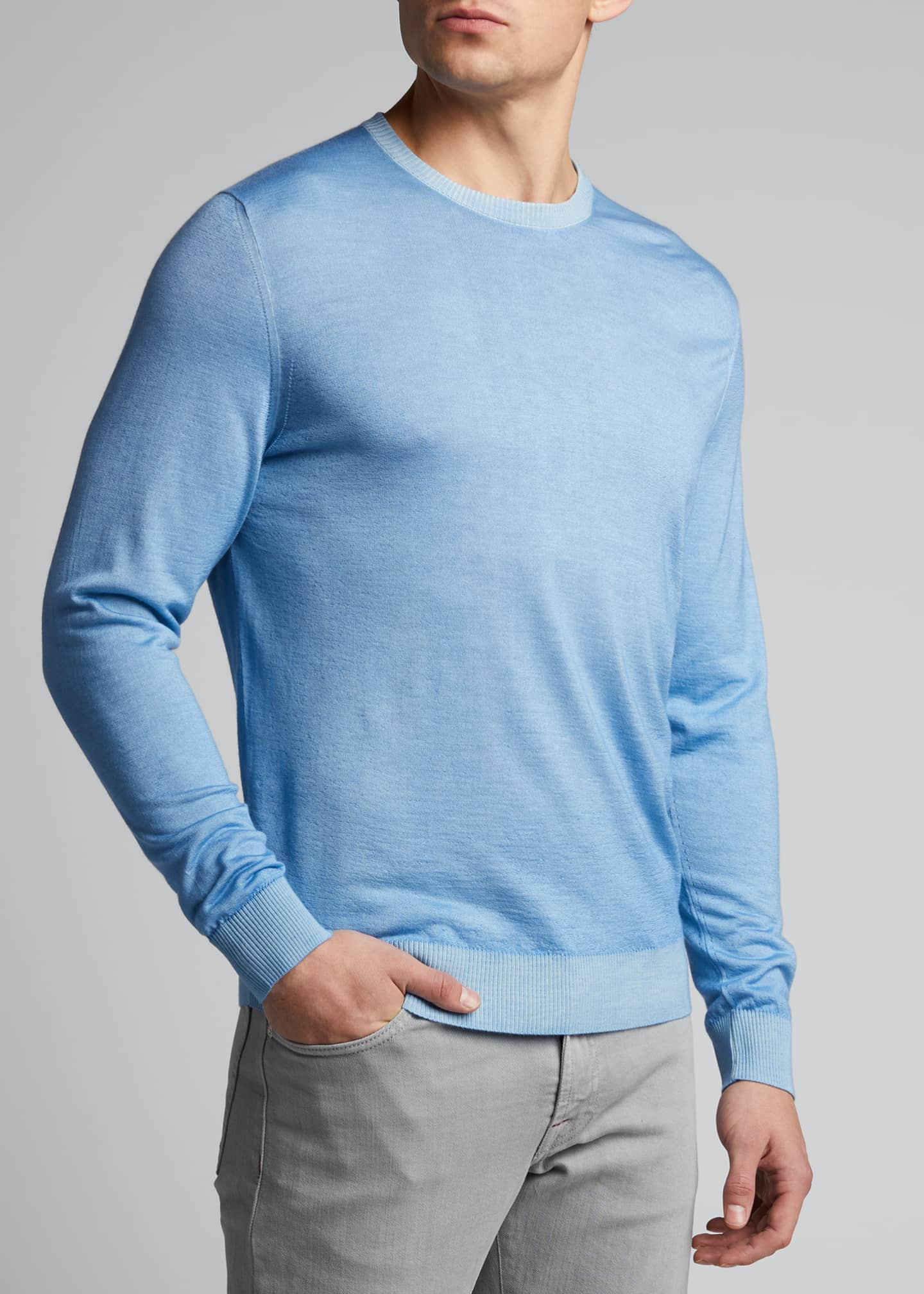 Image 3 of 5: Men's Washed Cashmere-Cotton Sweater