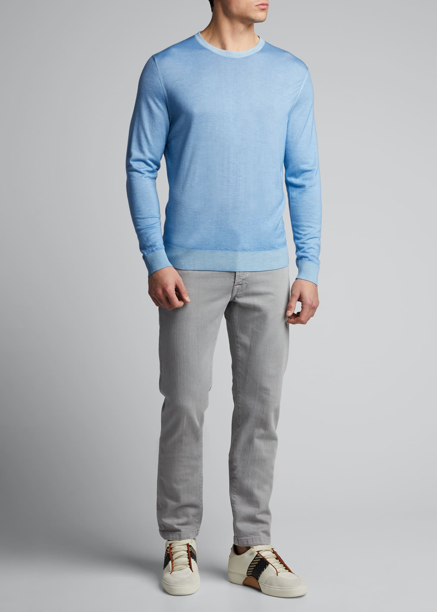 Image 1 of 5: Men's Washed Cashmere-Cotton Sweater