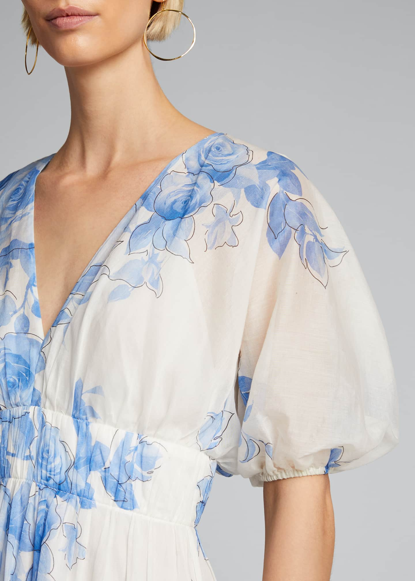Image 4 of 5: Rose Drawn Voile Blouson Dress