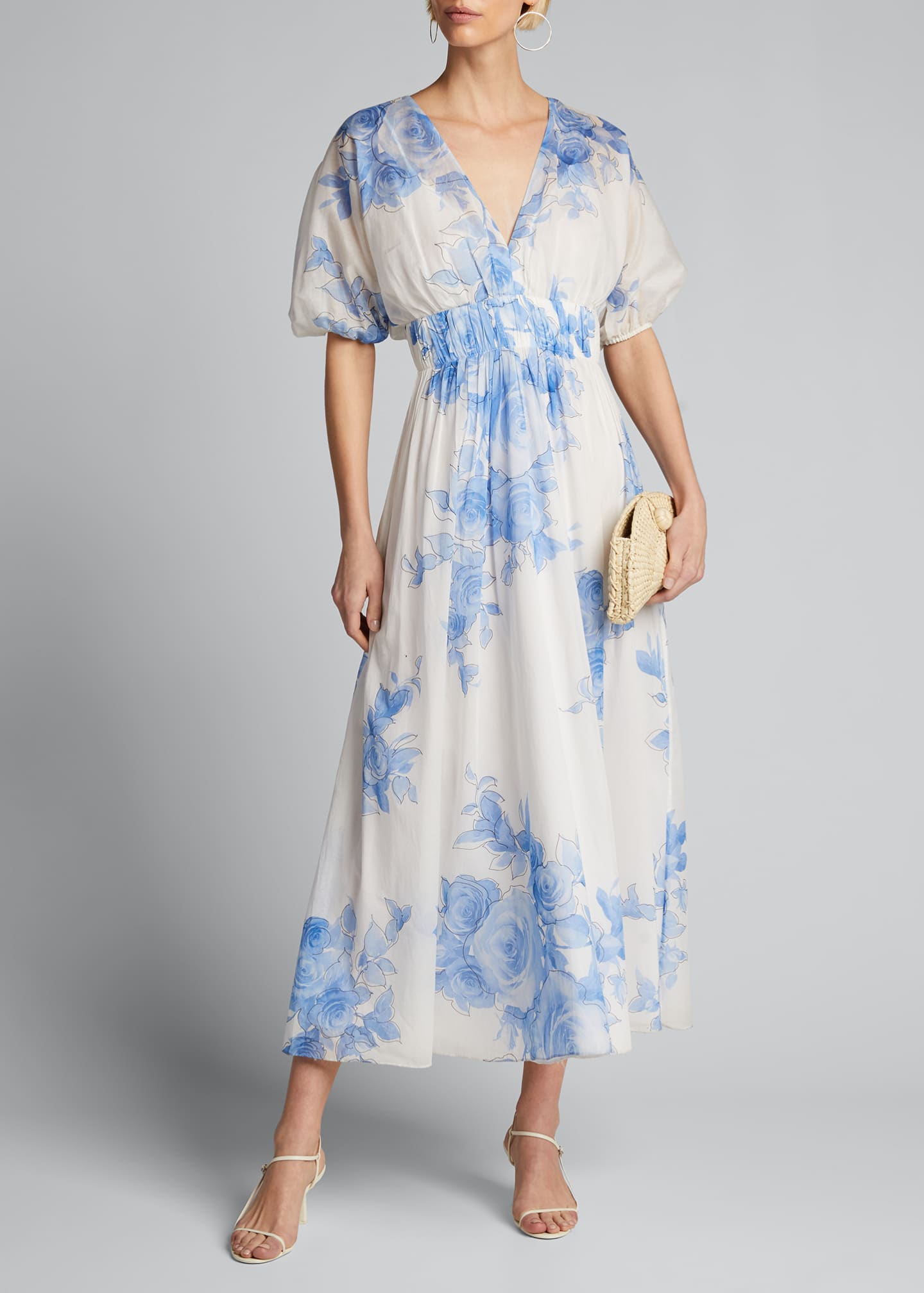 Image 1 of 5: Rose Drawn Voile Blouson Dress