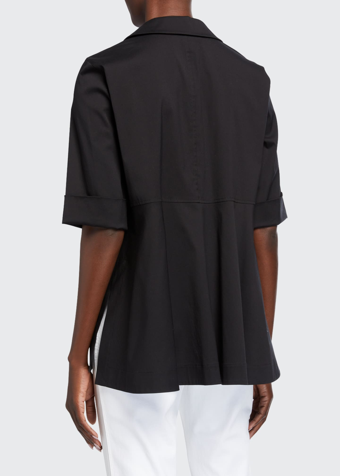 Image 2 of 2: Farrell Button-Down Italian Stretch Cotton Blouse