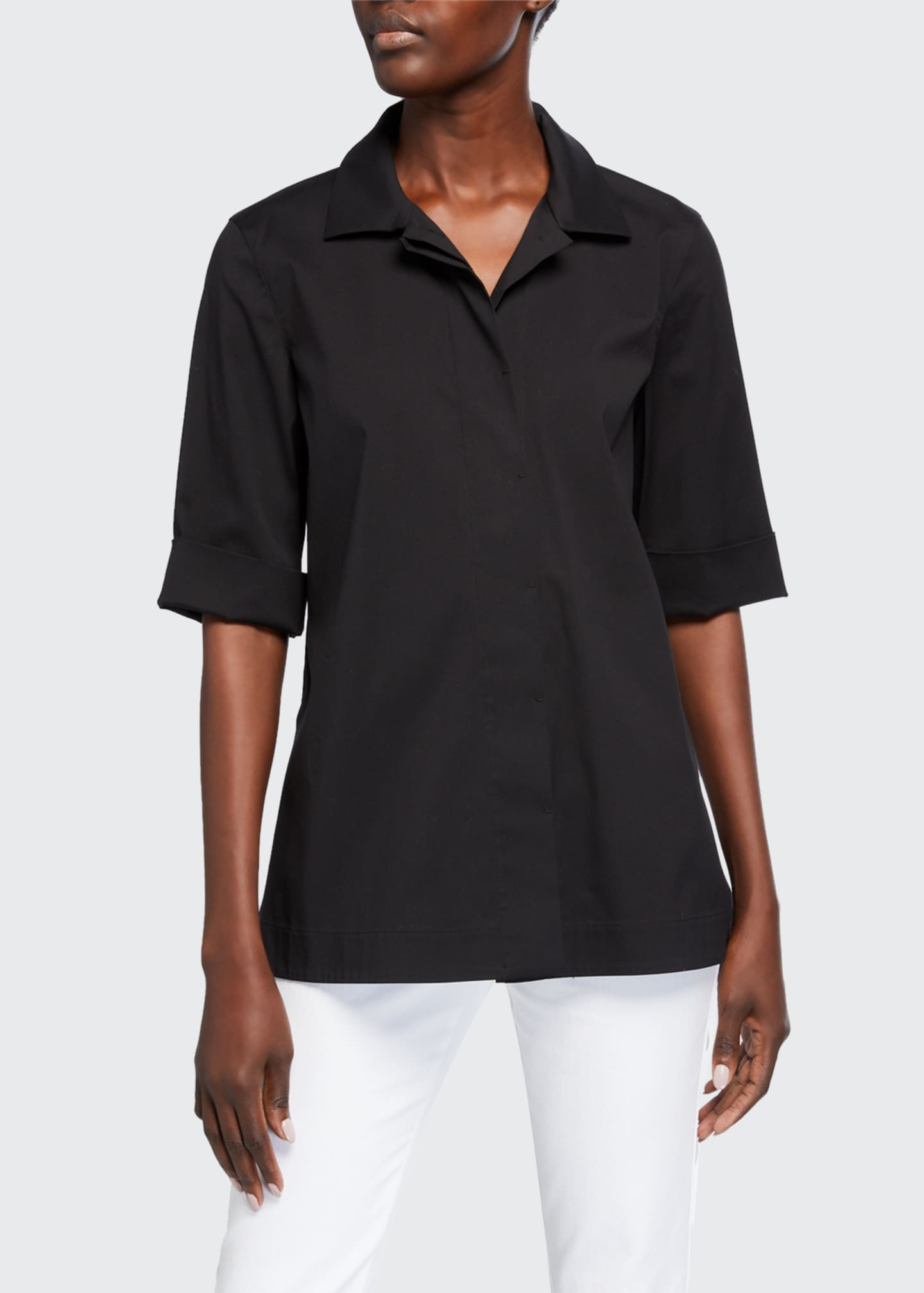 Image 1 of 2: Farrell Button-Down Italian Stretch Cotton Blouse