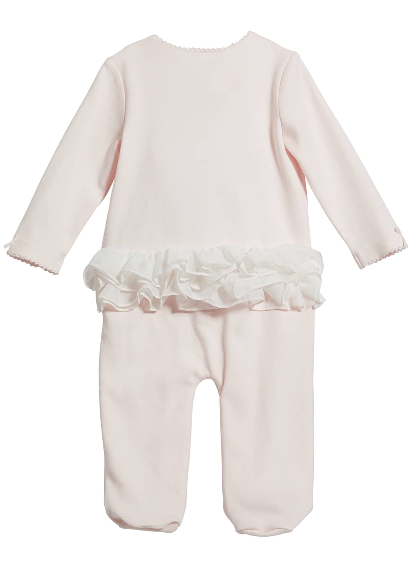 Image 2 of 2: Girl's Floral Trim Footed Coverall, Size 3-9 Months