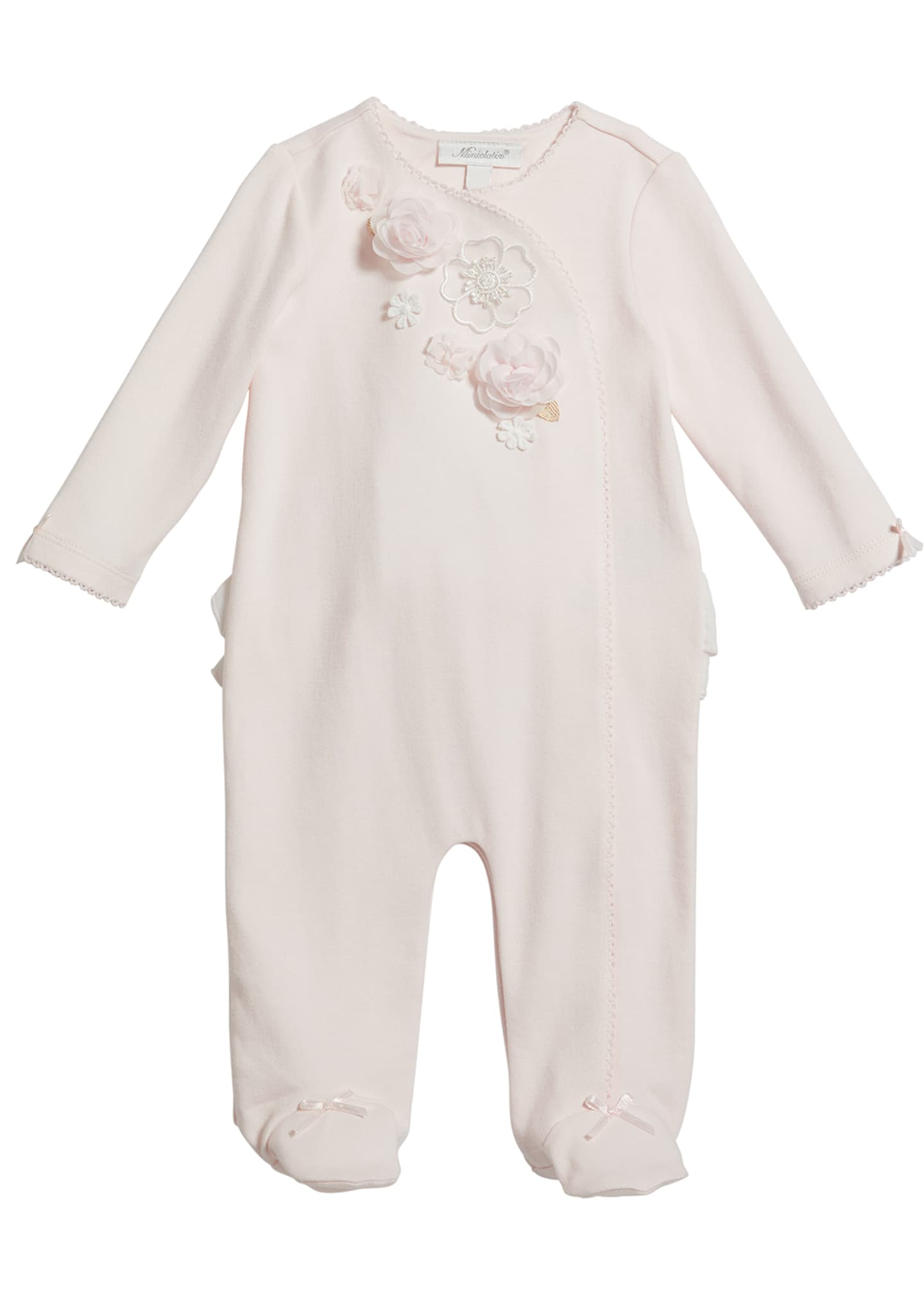 Image 1 of 2: Girl's Floral Trim Footed Coverall, Size 3-9 Months