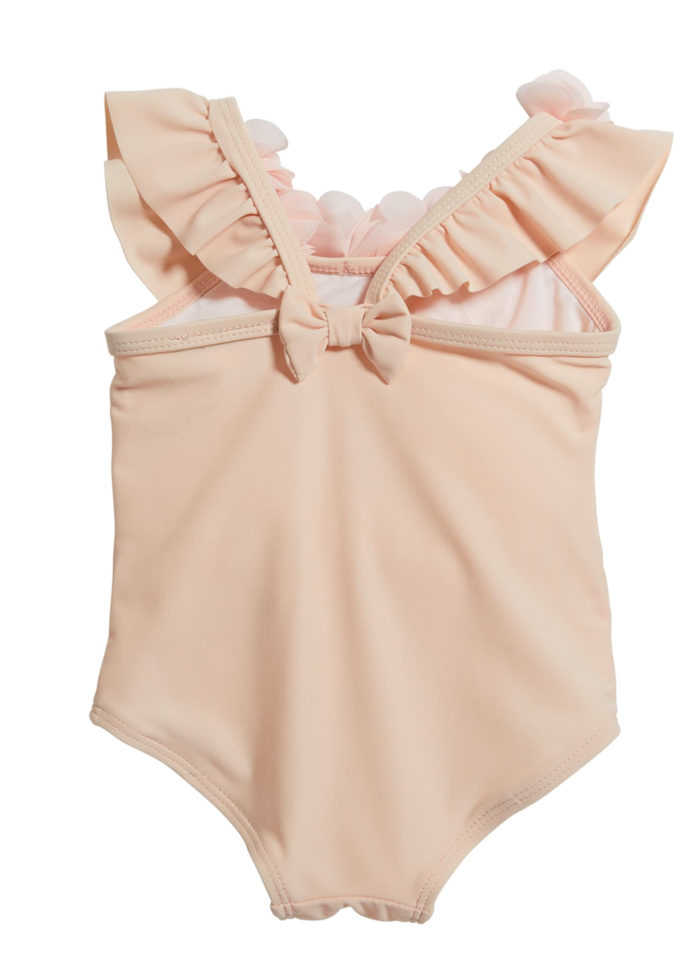 Image 2 of 2: Girl's Ruffle Rosette One-Piece Swimsuit, Size 3-24 Months
