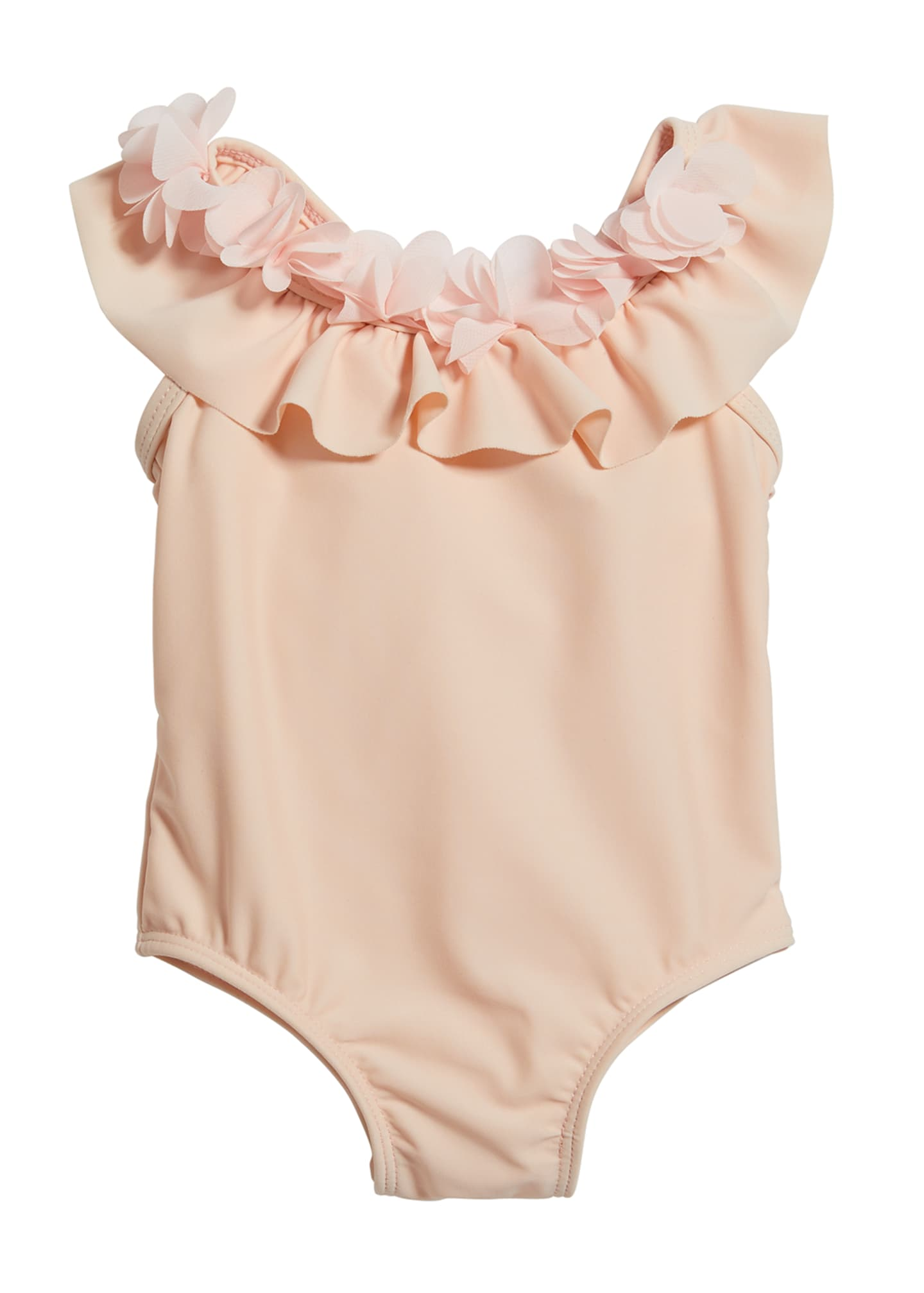 Image 1 of 2: Girl's Ruffle Rosette One-Piece Swimsuit, Size 3-24 Months