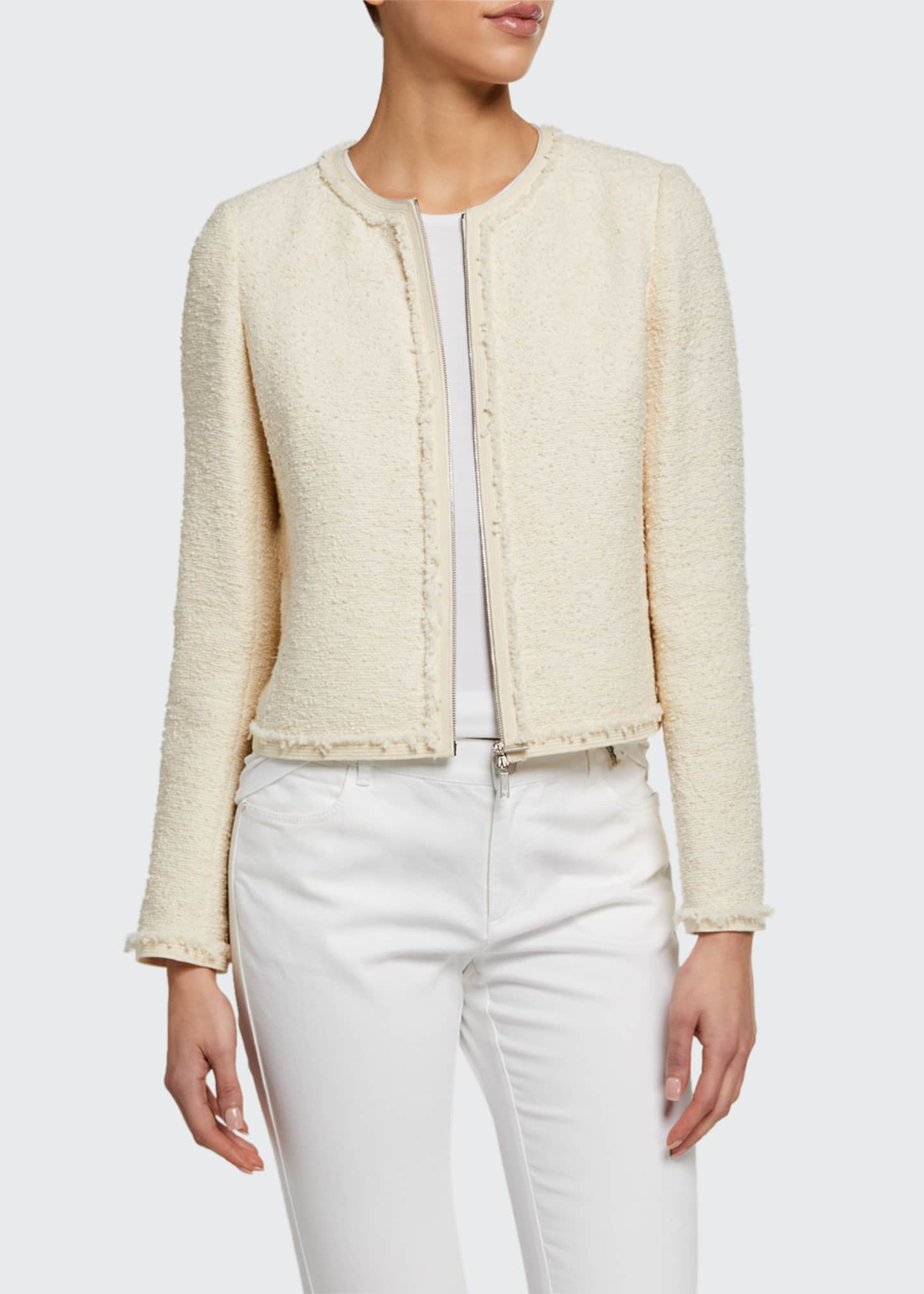 Image 1 of 3: Charlie Portfolio Tweed Zip-Front Jacket
