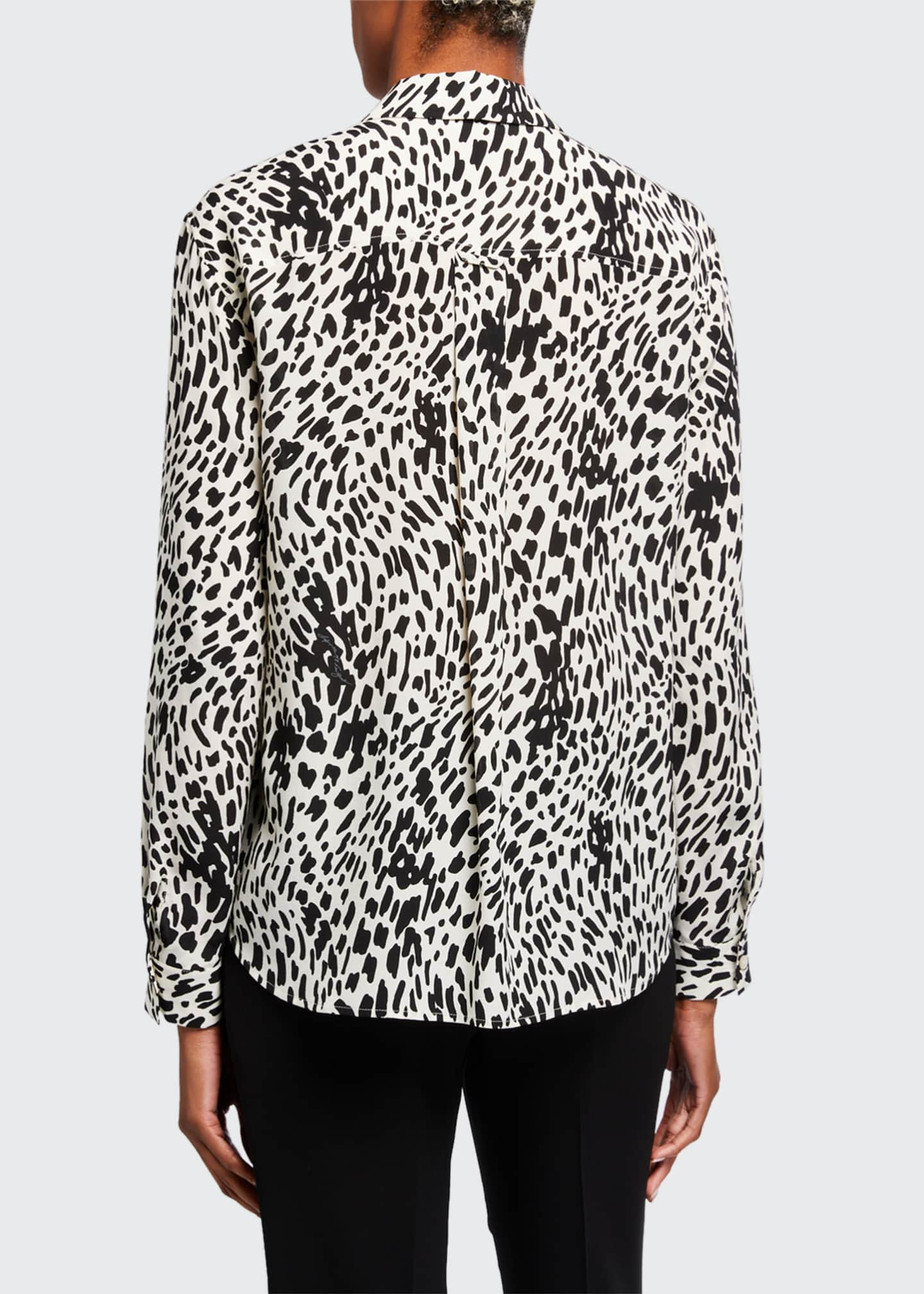 Image 2 of 3: Zora Cheetah Print Silk Button-Down Blouse