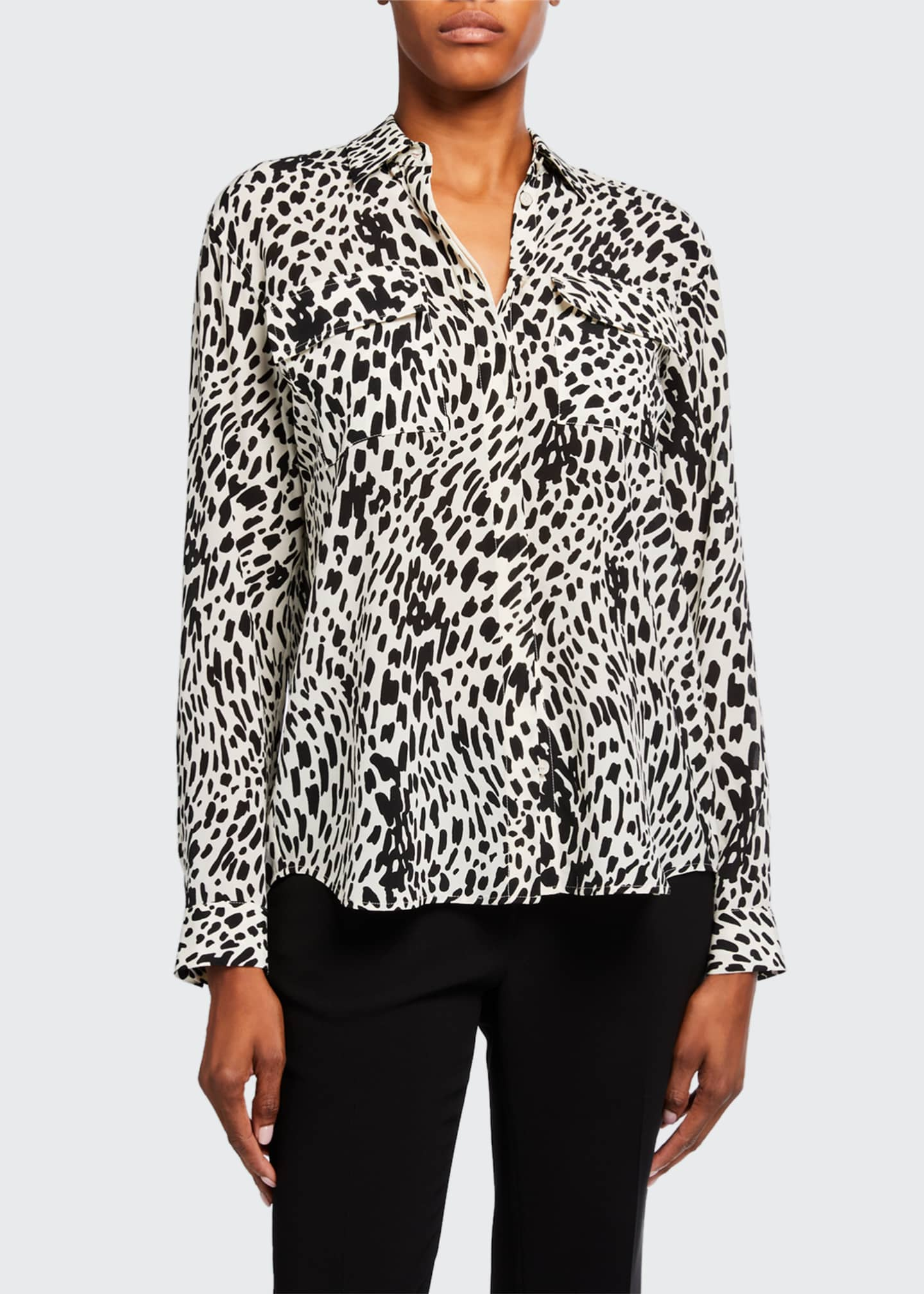 Image 3 of 3: Zora Cheetah Print Silk Button-Down Blouse