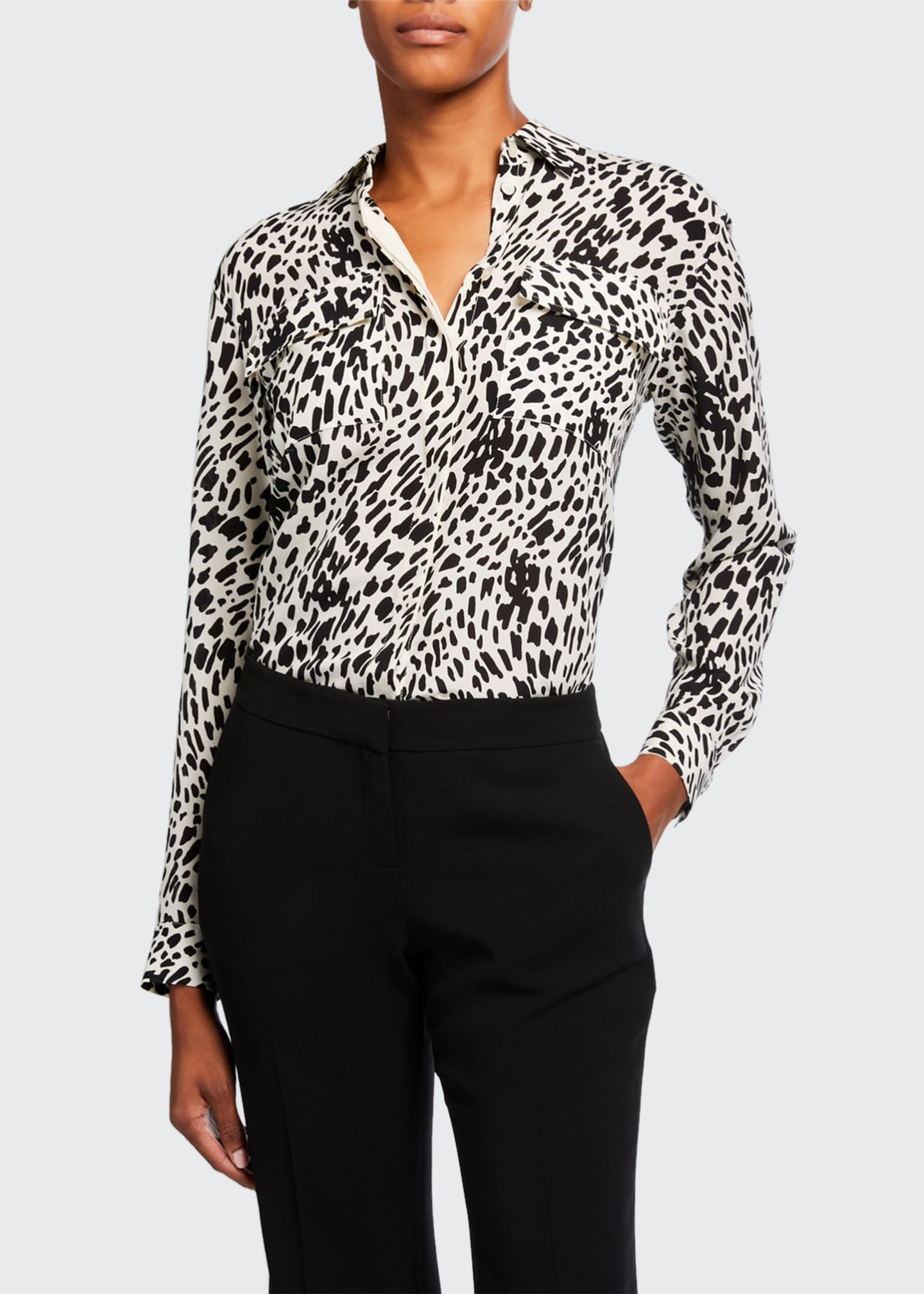 Image 1 of 3: Zora Cheetah Print Silk Button-Down Blouse