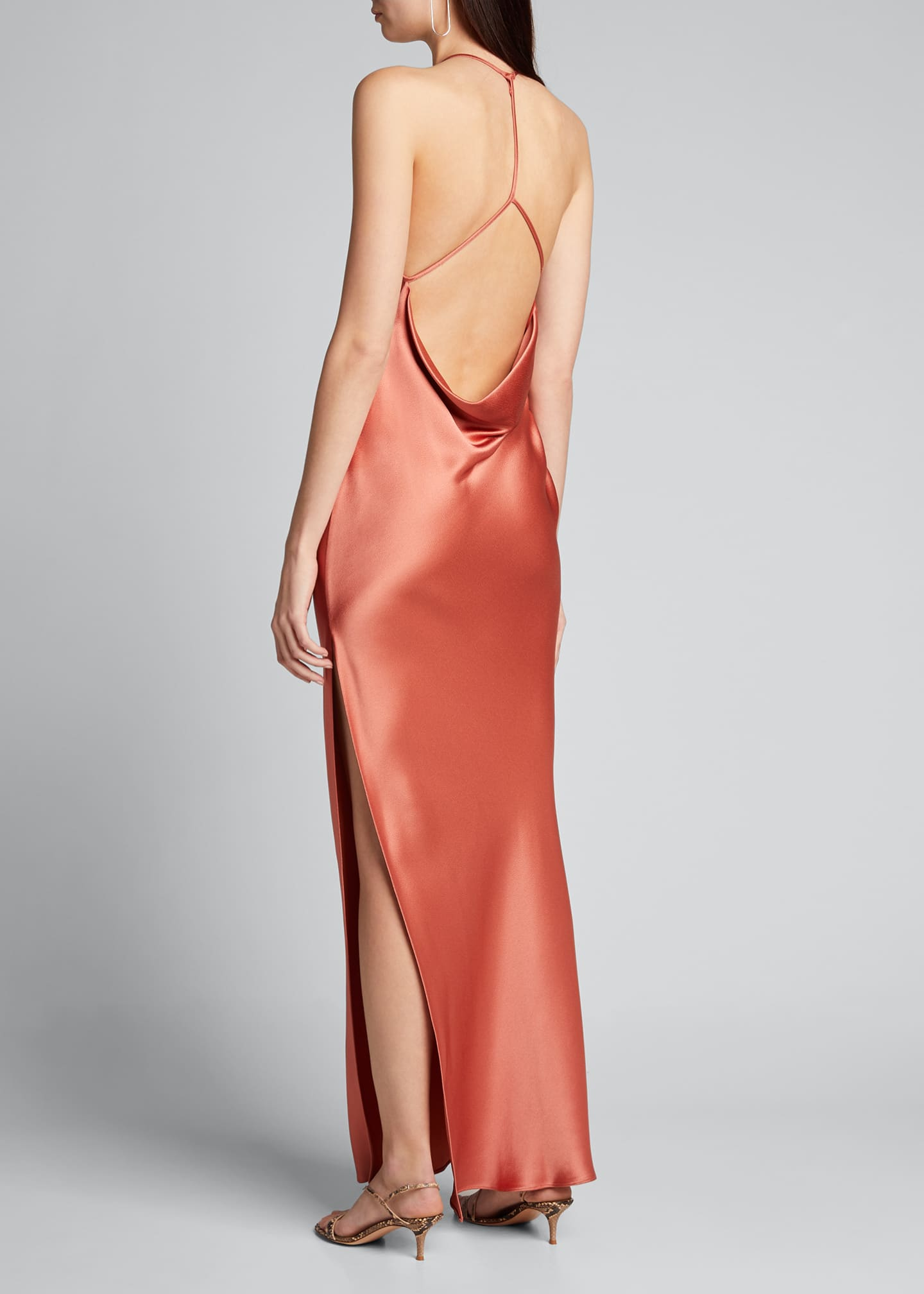 Image 2 of 5: Satin Draped Column Gown