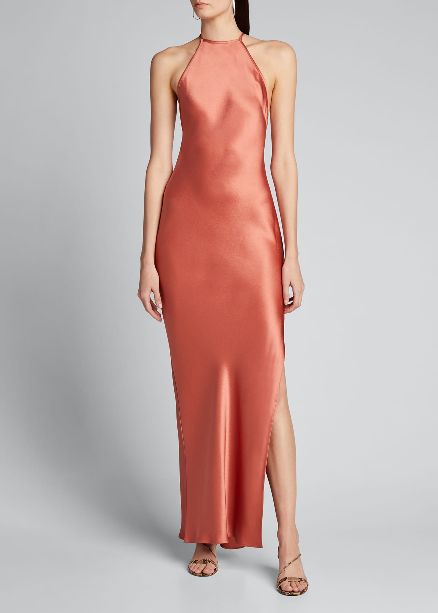 Image 3 of 5: Satin Draped Column Gown