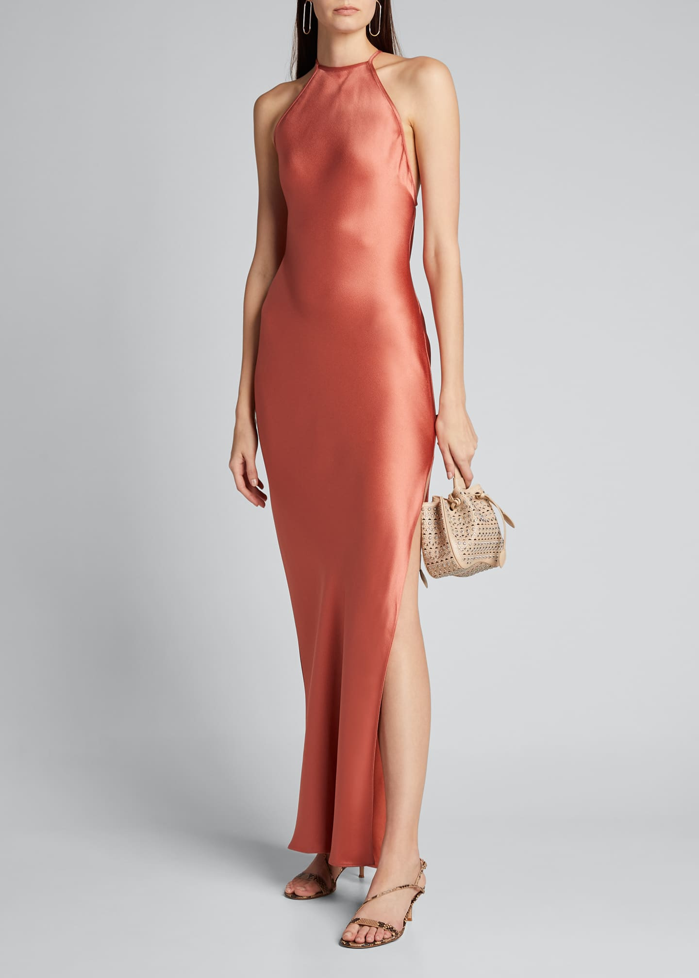 Image 1 of 5: Satin Draped Column Gown