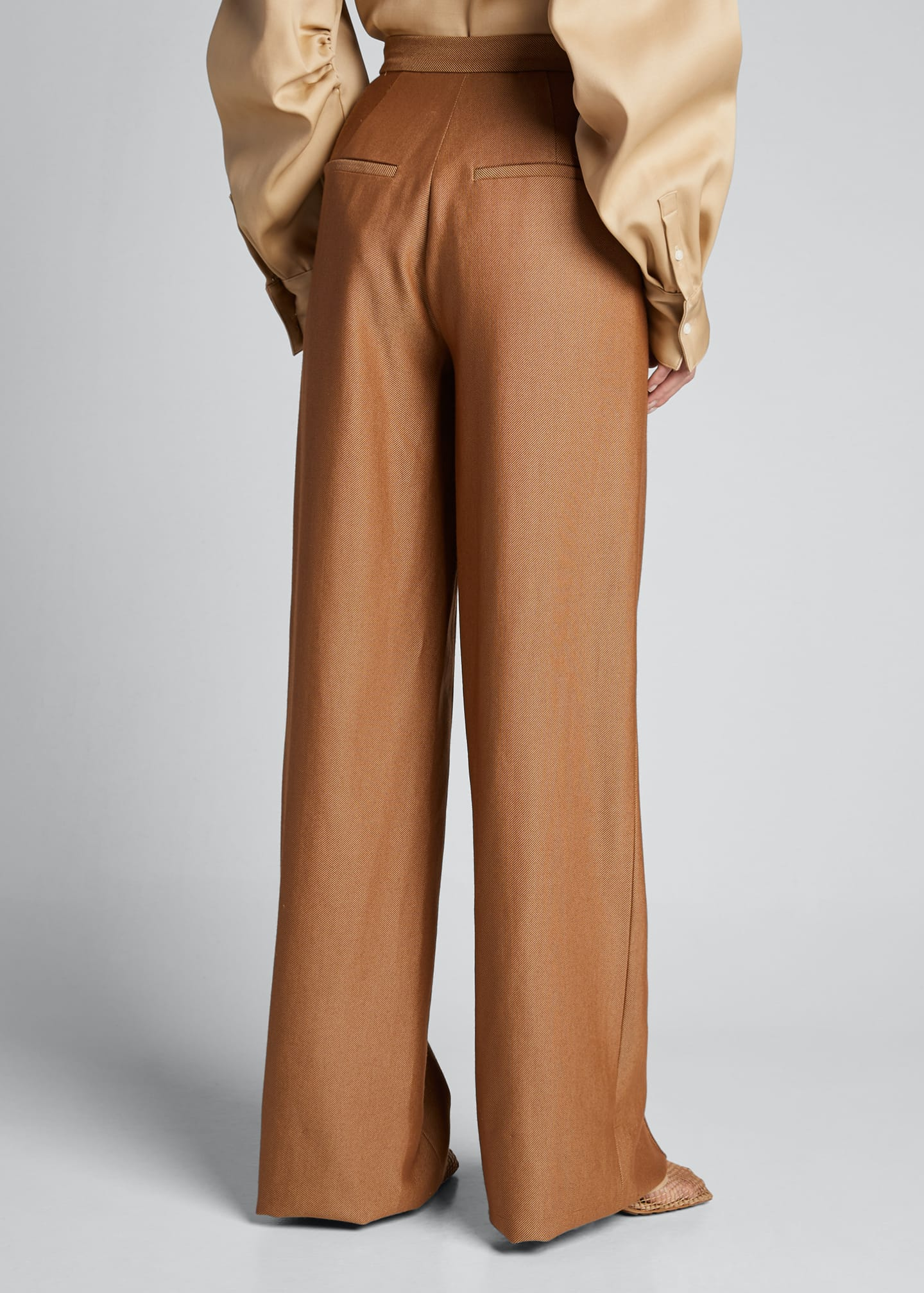 Image 2 of 5: High-Rise Wool-Silk Trousers