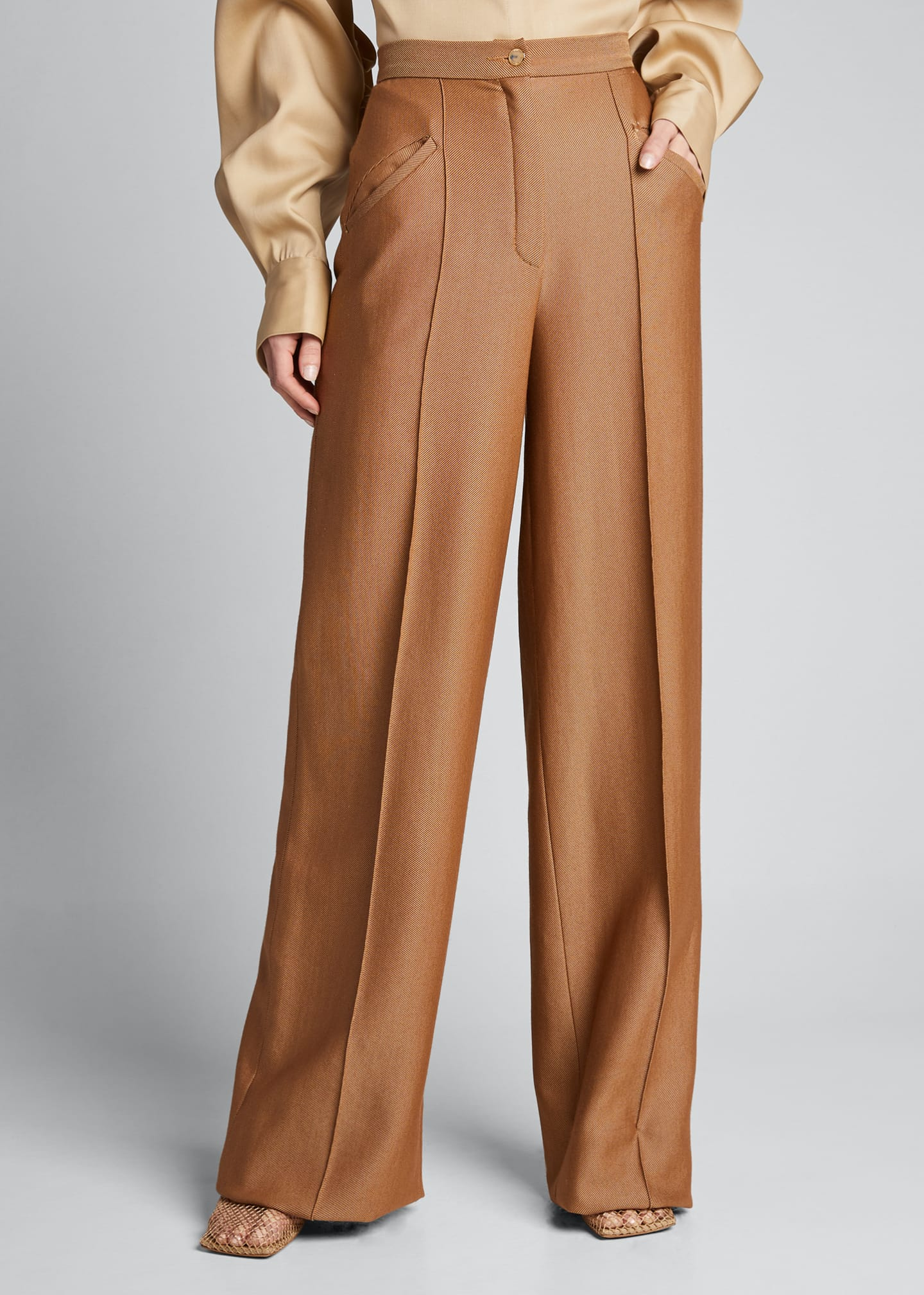 Image 3 of 5: High-Rise Wool-Silk Trousers