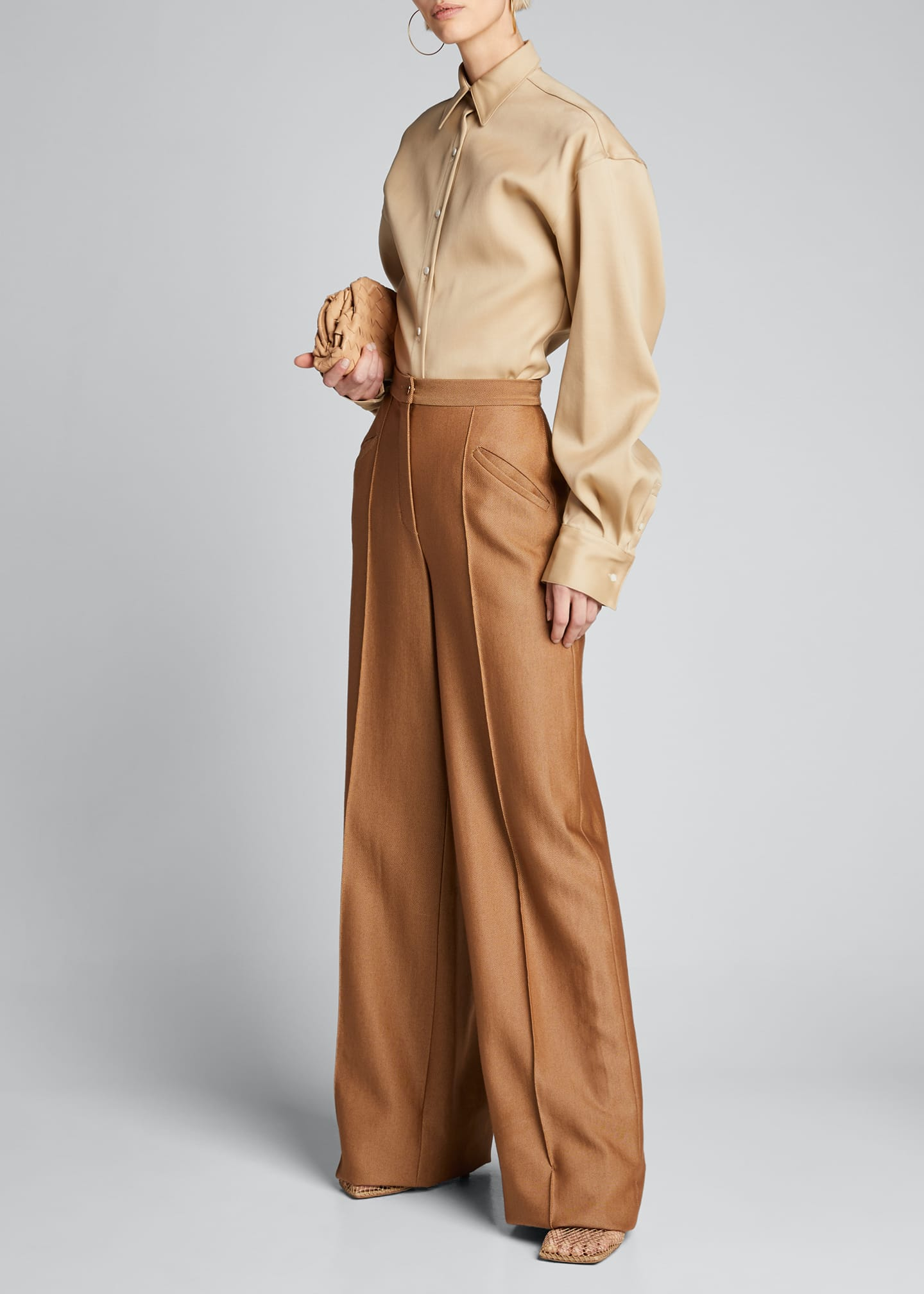 Image 1 of 5: High-Rise Wool-Silk Trousers