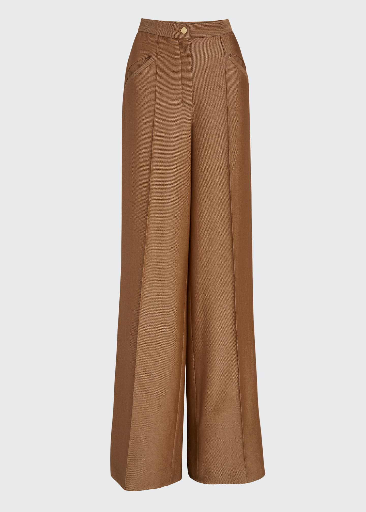 Image 5 of 5: High-Rise Wool-Silk Trousers