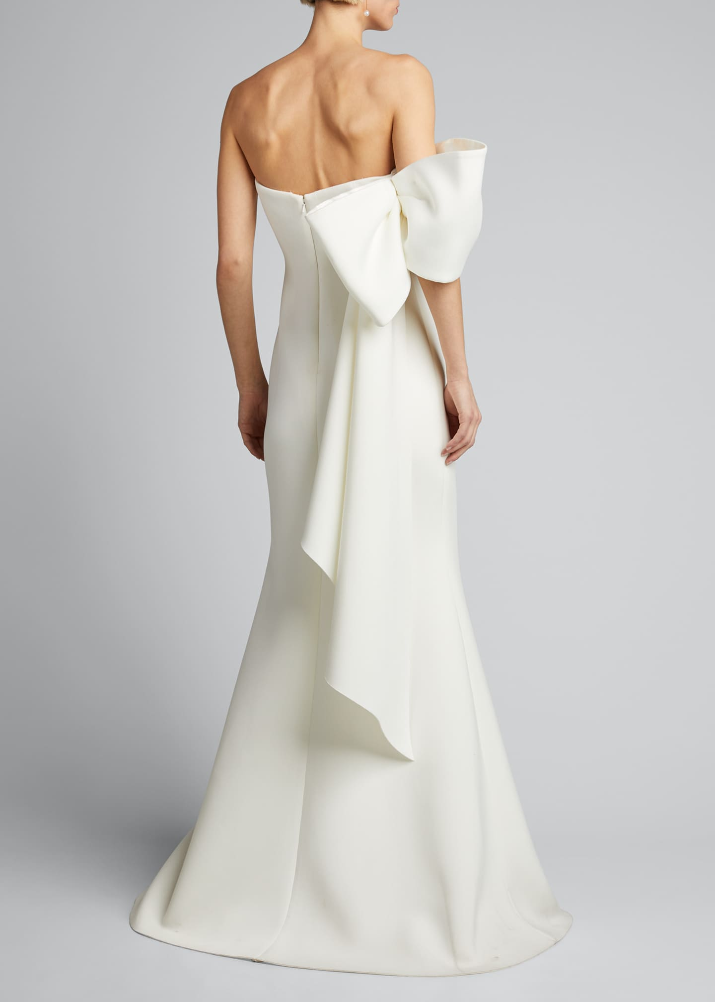 Image 2 of 5: Asymmetric Bow Strapless Scuba Gown