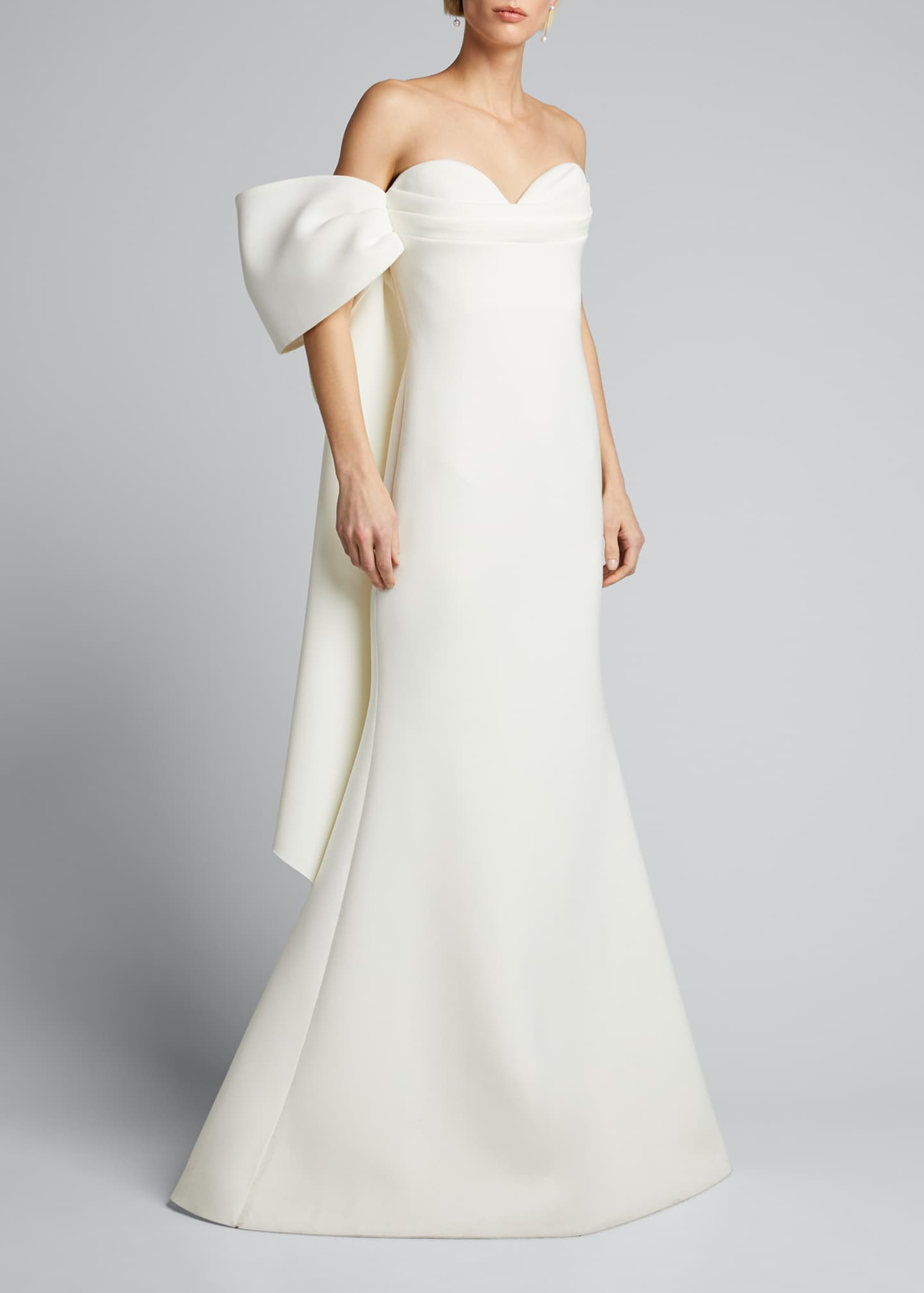 Image 3 of 5: Asymmetric Bow Strapless Scuba Gown