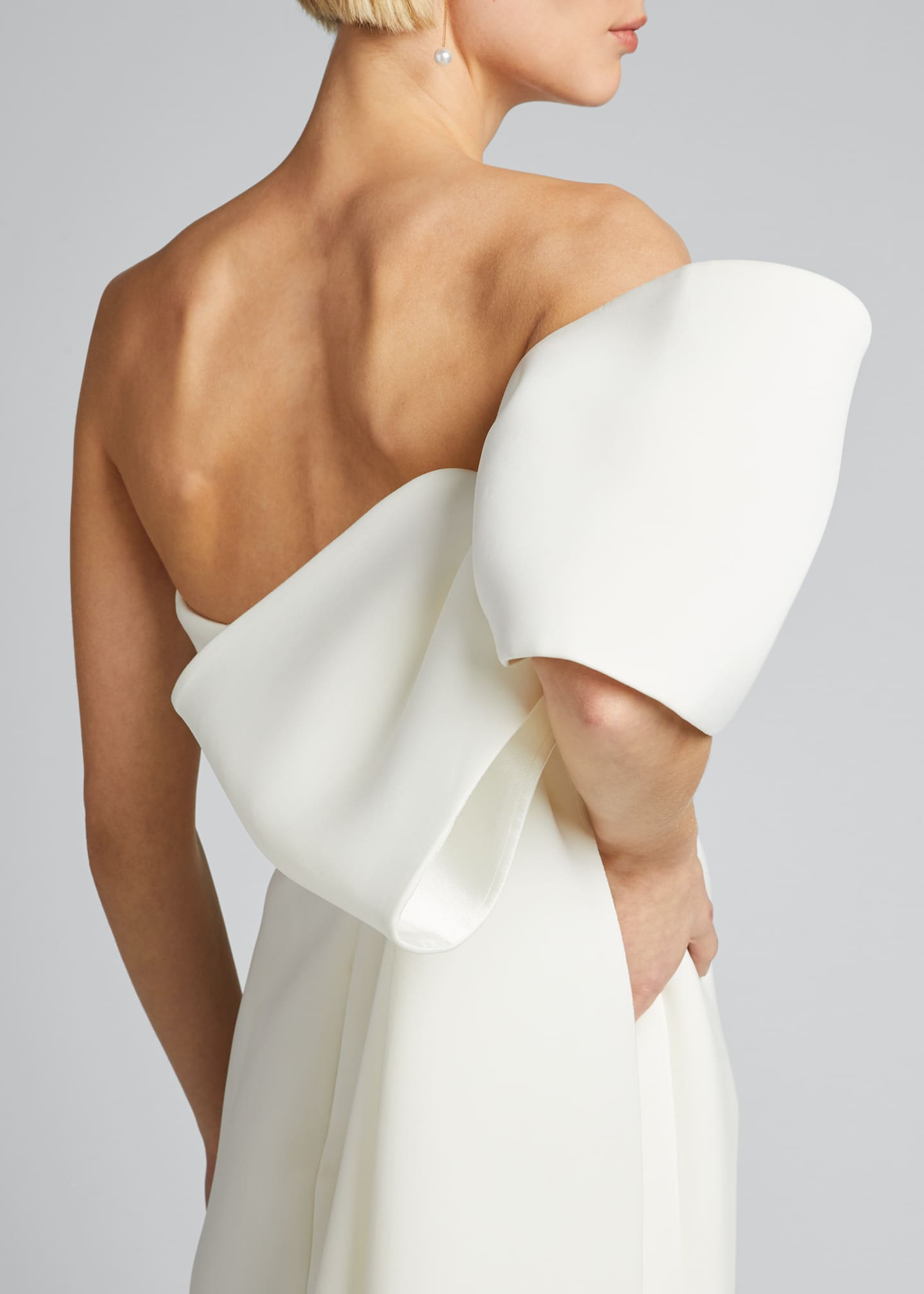 Image 4 of 5: Asymmetric Bow Strapless Scuba Gown