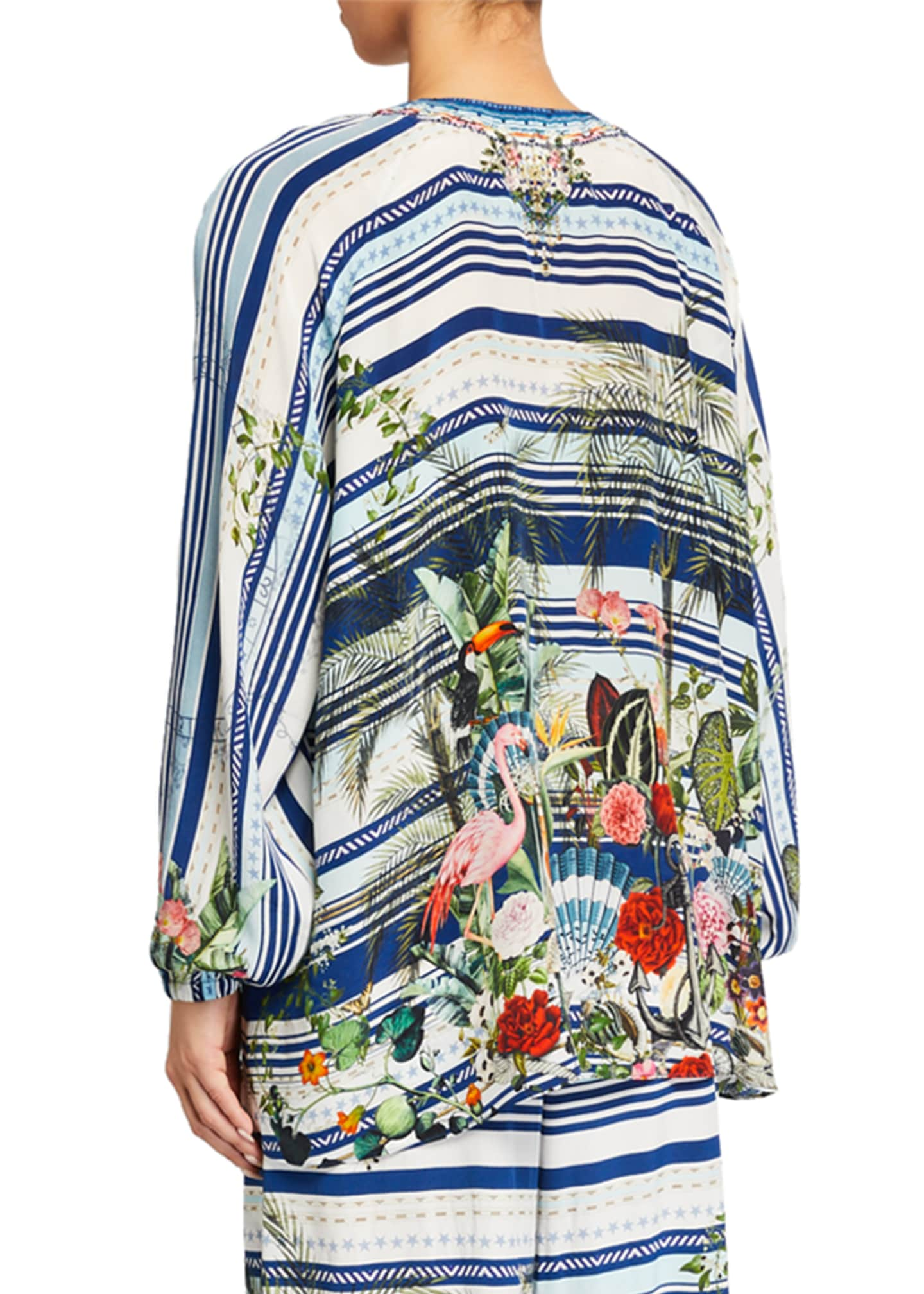 Image 2 of 3: Printed Lace-Up Silk Blouse