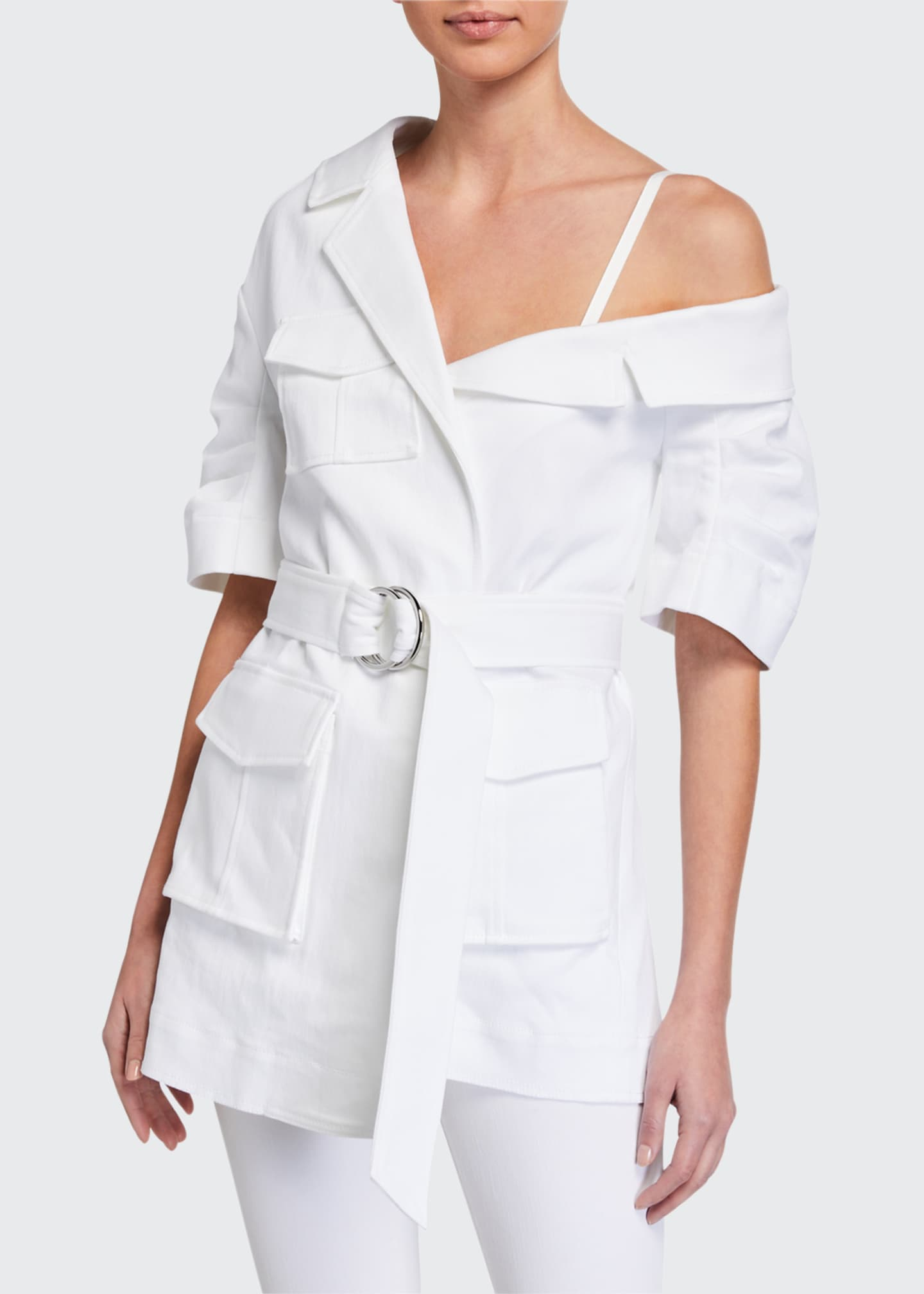 Image 1 of 2: Katie Off-Shoulder Asymmetric Utility Jacket