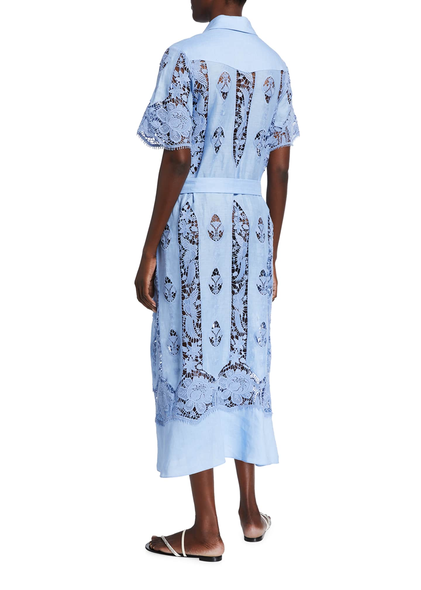 Image 2 of 2: Berly Linen Embroidered Shirt Dress
