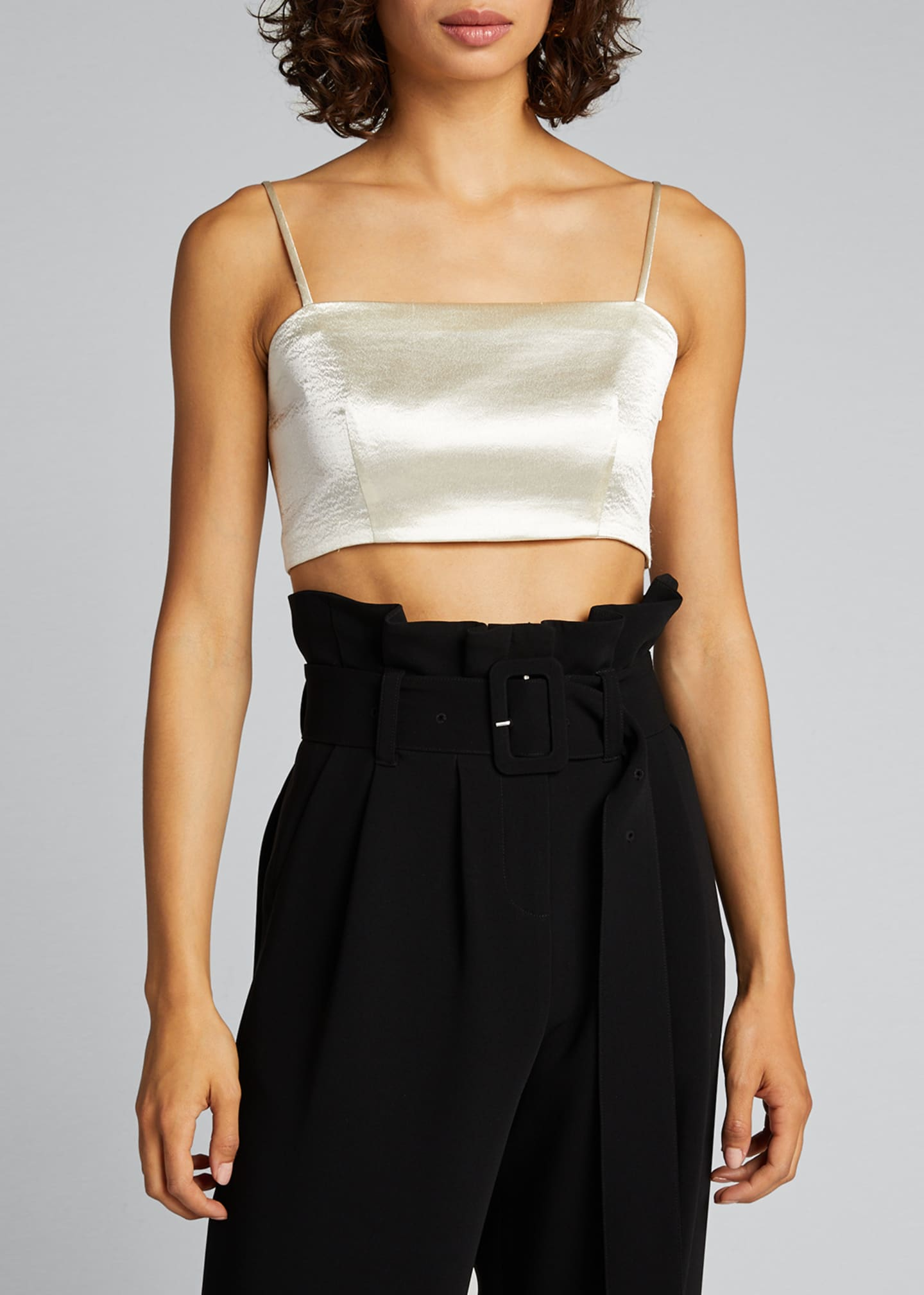 Image 3 of 5: Nikki Cropped Satin Top