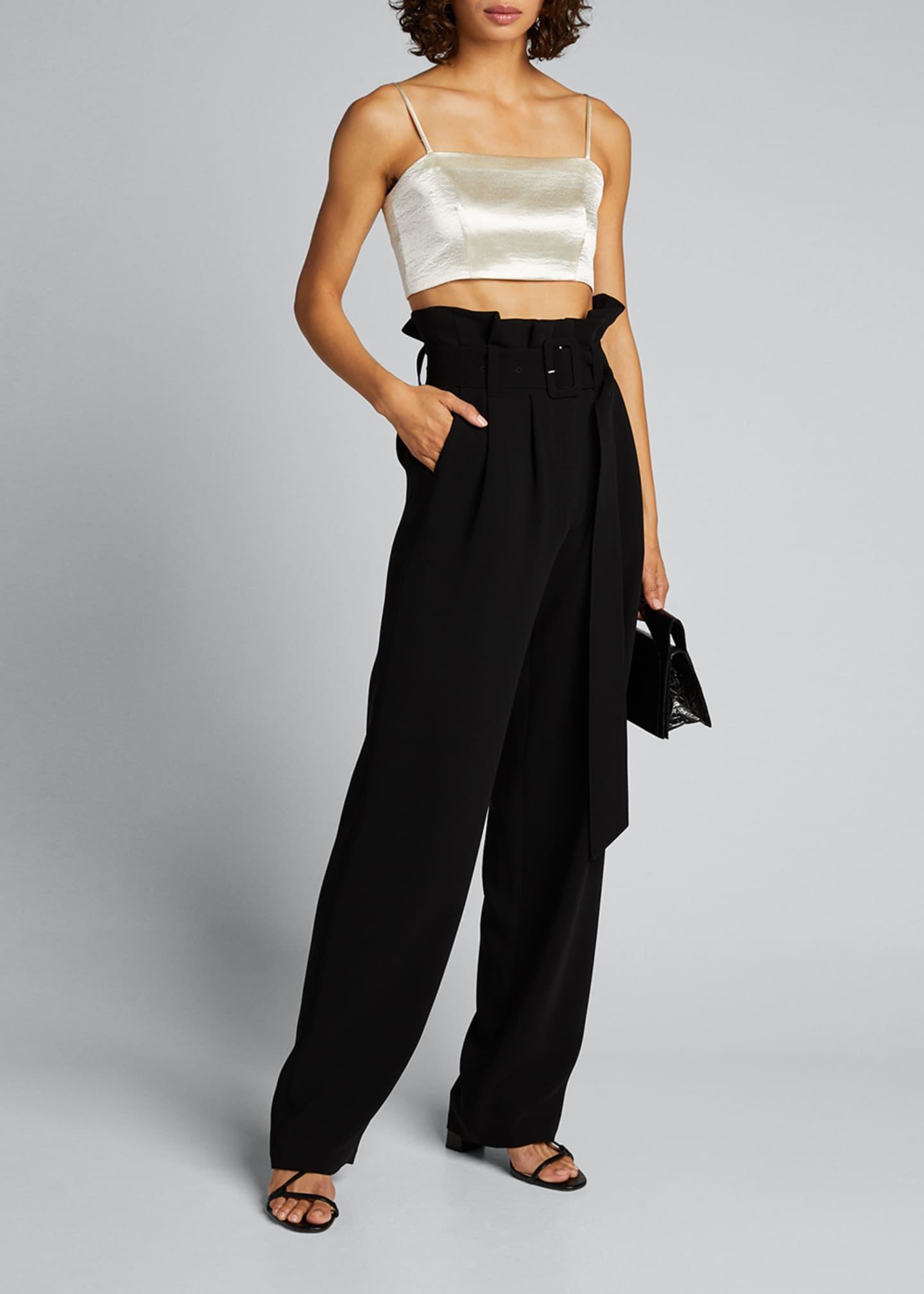 Image 1 of 5: Nikki Cropped Satin Top