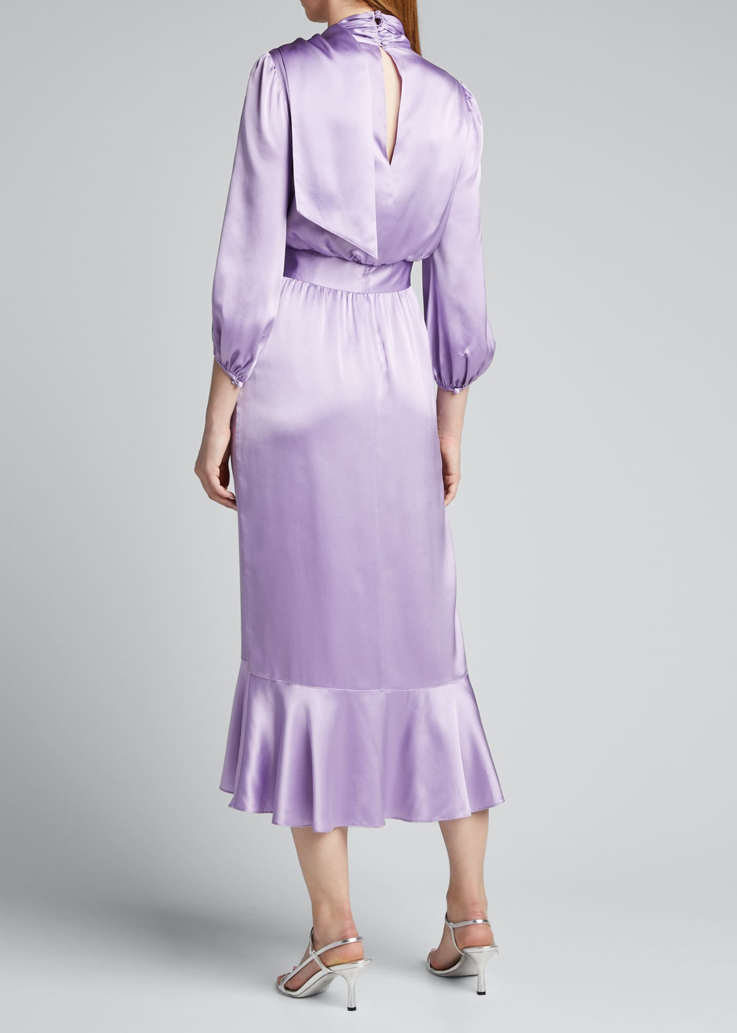 Image 2 of 5: Bella Belted Silk Tie-Neck Ruffle Dress