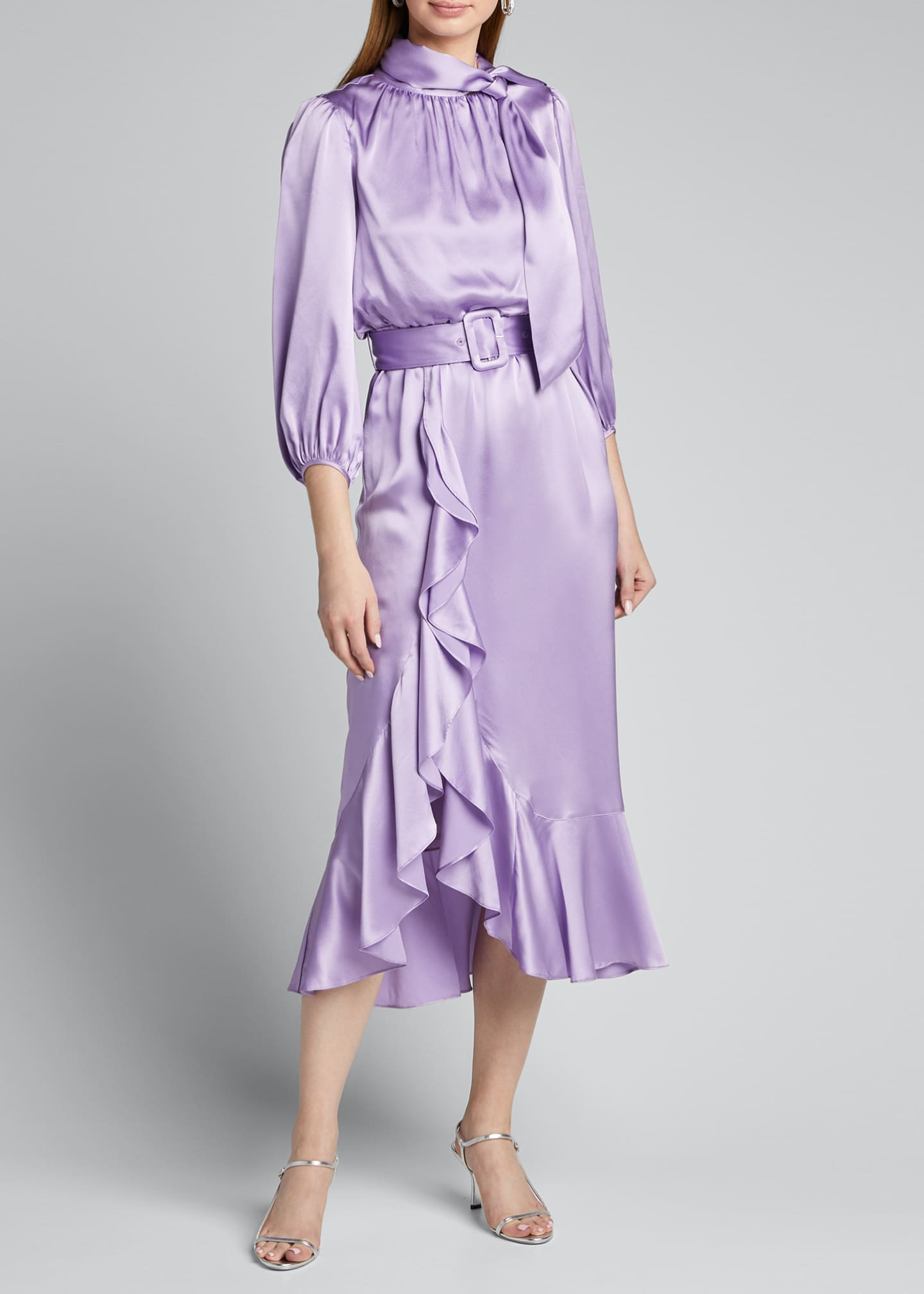 Image 3 of 5: Bella Belted Silk Tie-Neck Ruffle Dress