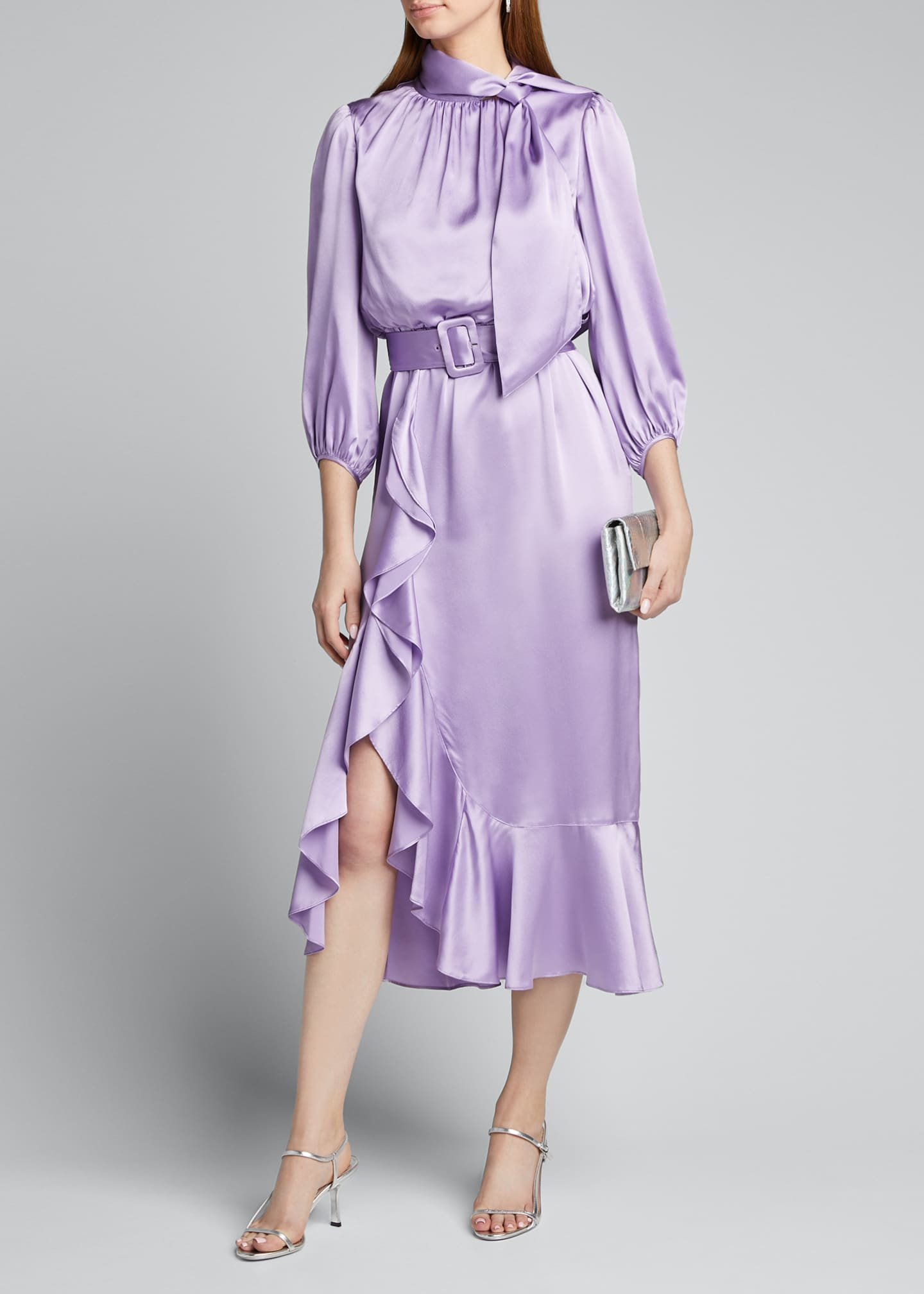 Image 1 of 5: Bella Belted Silk Tie-Neck Ruffle Dress