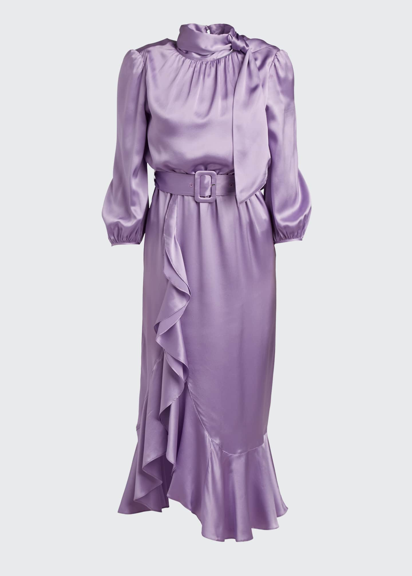 Image 5 of 5: Bella Belted Silk Tie-Neck Ruffle Dress