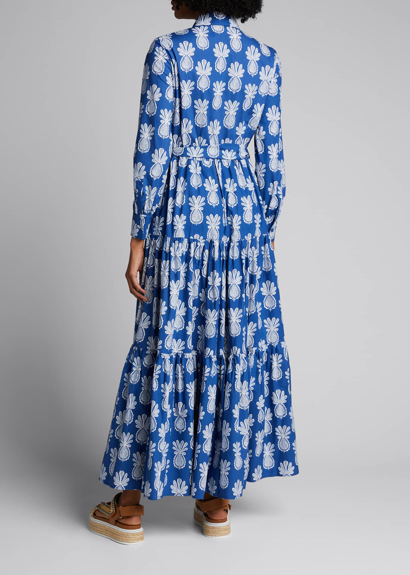 Image 2 of 5: Bellini Long-Sleeve Pineapple-Print Cotton Shirtdress