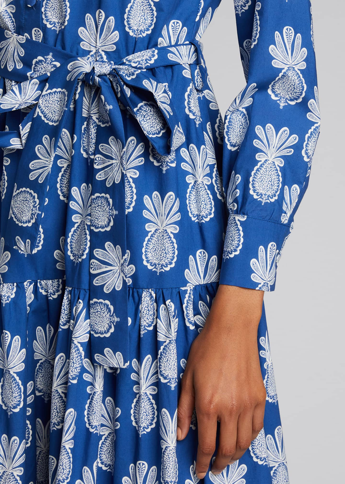 Image 4 of 5: Bellini Long-Sleeve Pineapple-Print Cotton Shirtdress