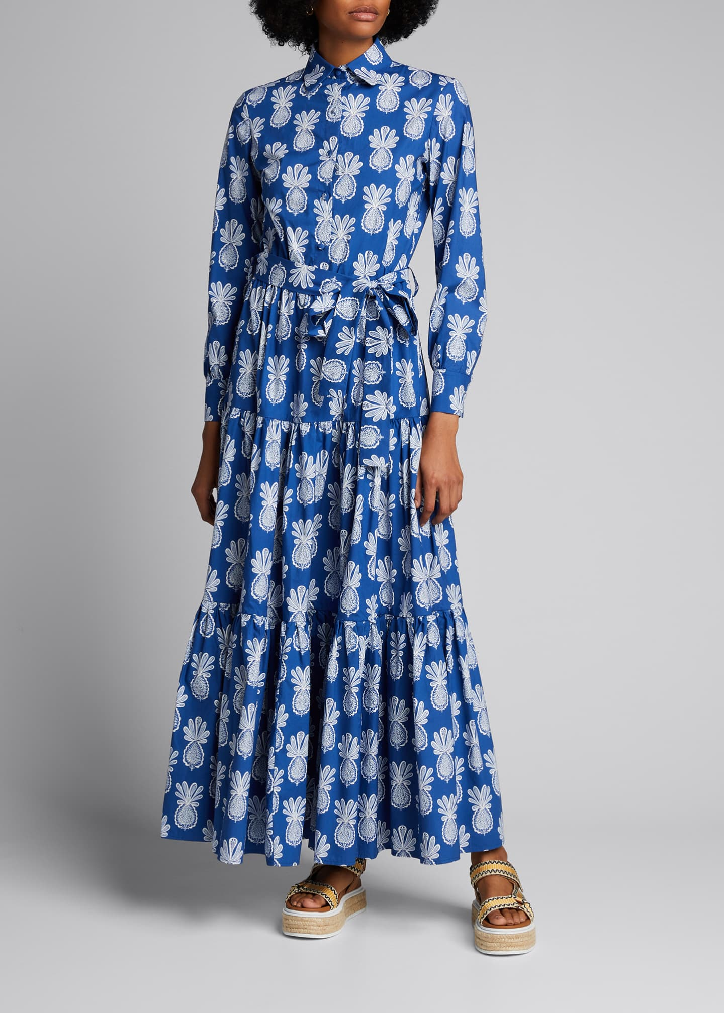 Image 1 of 5: Bellini Long-Sleeve Pineapple-Print Cotton Shirtdress