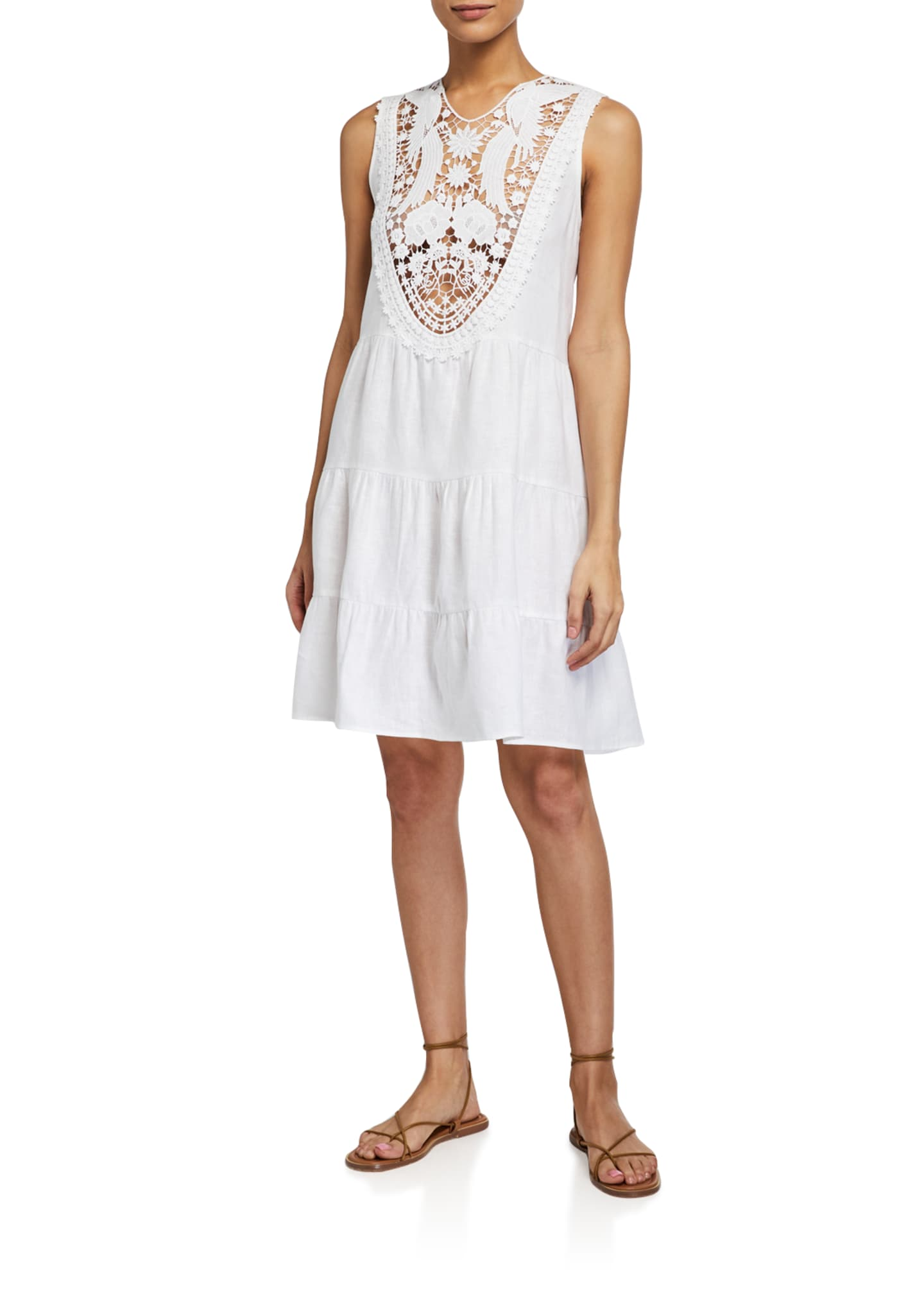 Image 1 of 2: Luce Sleeveless Dress w/ Embroidered Lace