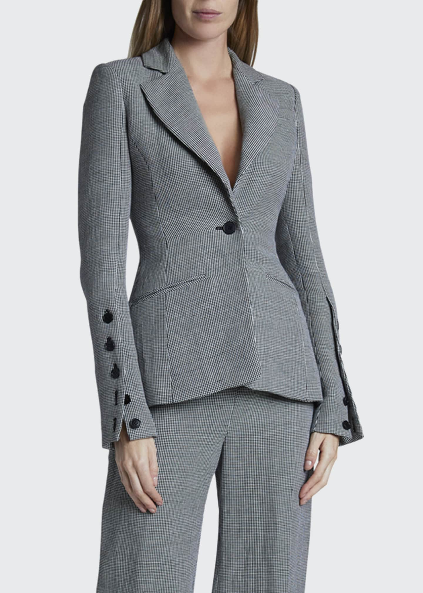 Image 1 of 2: Longview Checked Linen Blazer Jacket