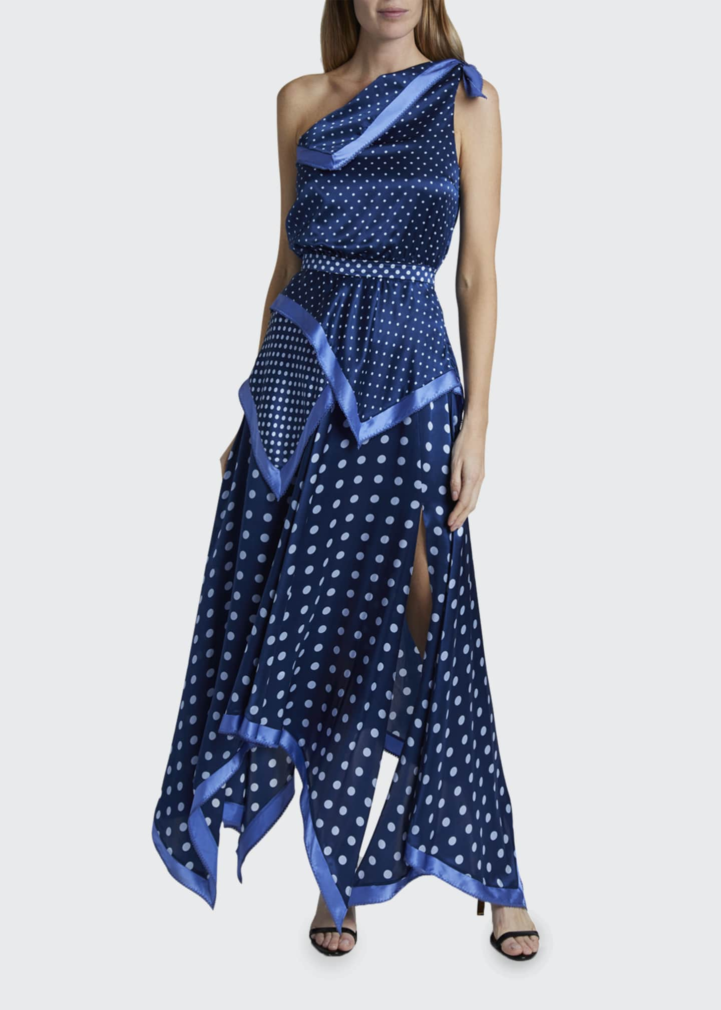 Image 1 of 3: Petrel Polka-Dotted Silk Handkerchief Dress