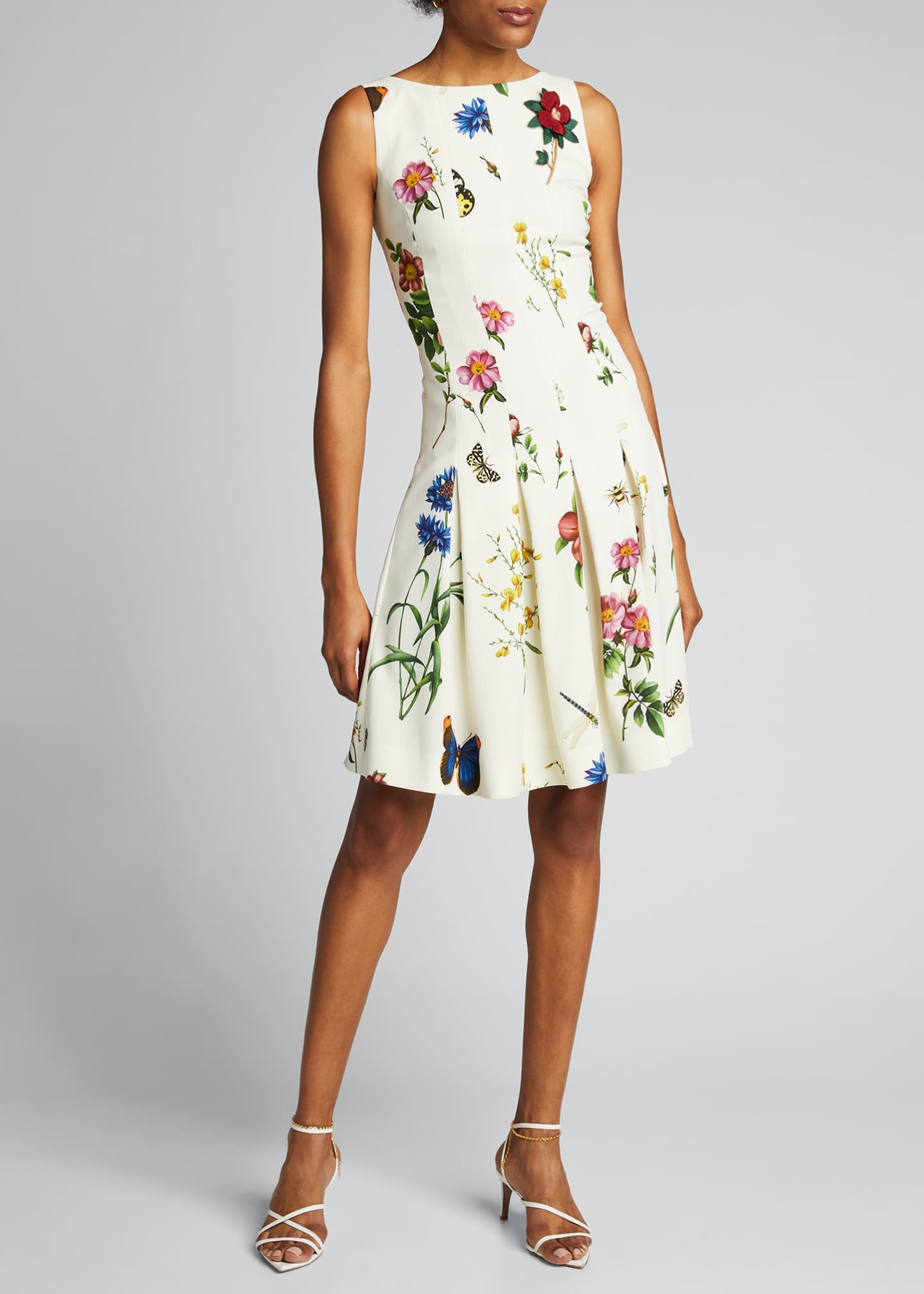 Image 3 of 5: Floral Print Pleated Dress